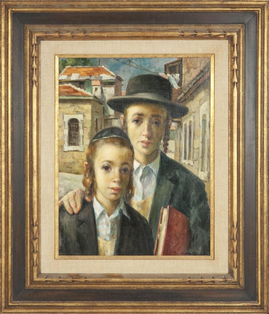 001 Yeshiva Boys 1966-67 - Oil on Canvas - 14 x 18 - Frame: 24 x 28 x 2