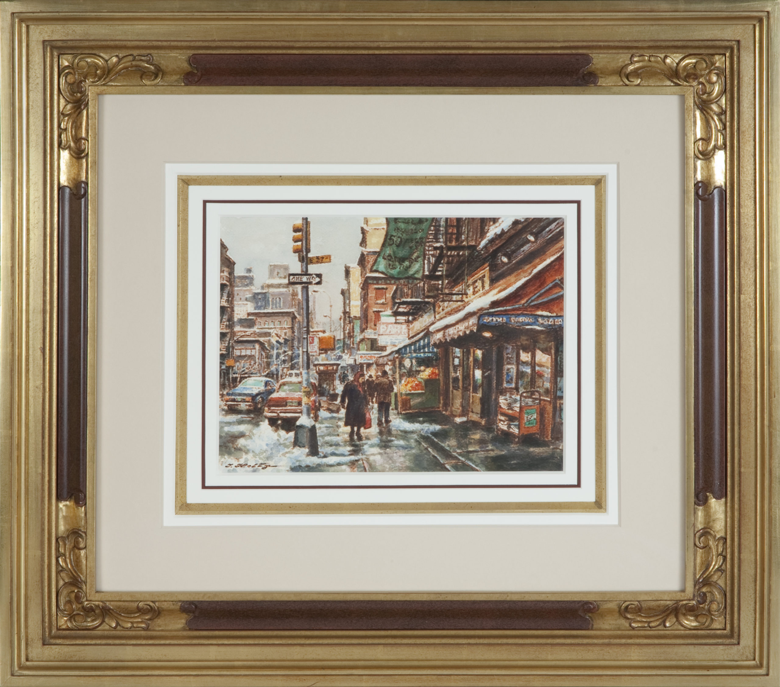 118 Snow on 27th Street 1973 - Watercolor - 12 x 10 - Frame: 27 x 24 x 2.5