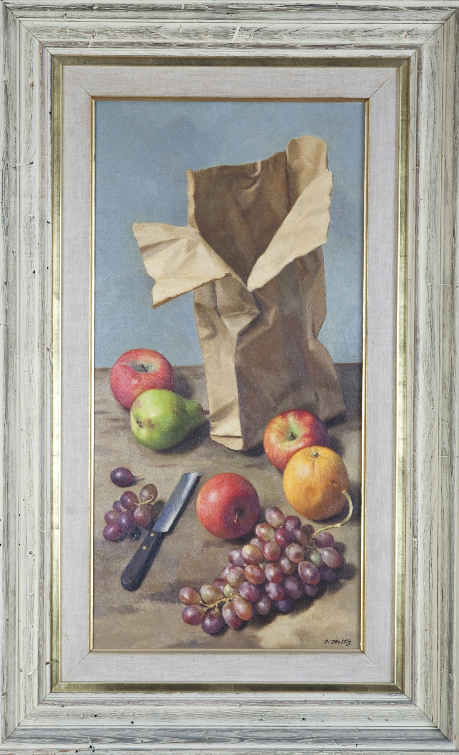 124 Paper Bag and Fruit 1965 - Oil on Canvas - 12 x 24 - Frame: 22.25 x 32.25 x 3