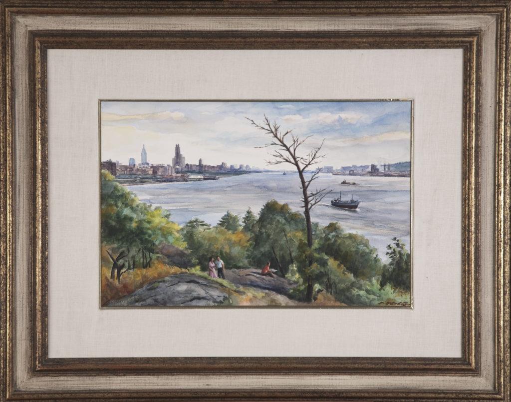 012 Along the Hudson 1975 - Watercolor - 18 x 12 - Frame: 29 x 23 x 1