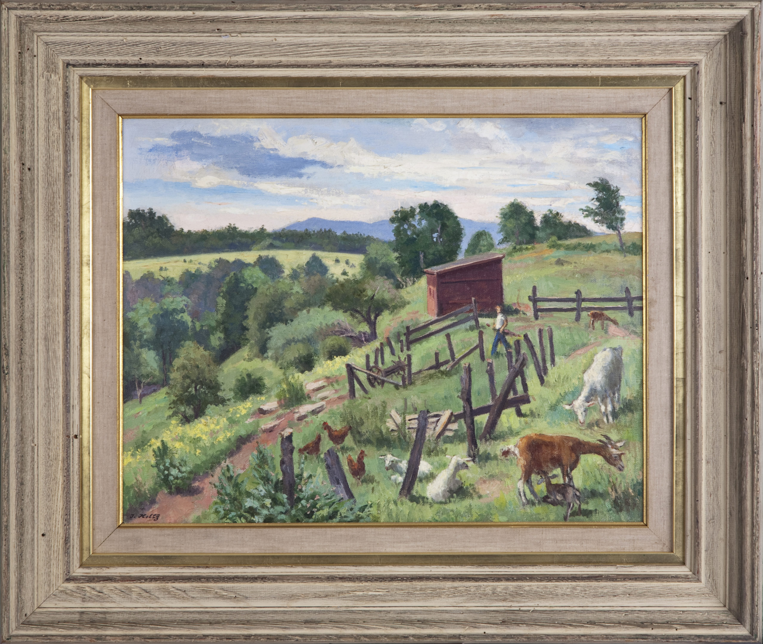 129 Farm animals 1954 - Oil on Canvas - 18 x 14 - Frame: 25.5 x 21.5 x 3.25