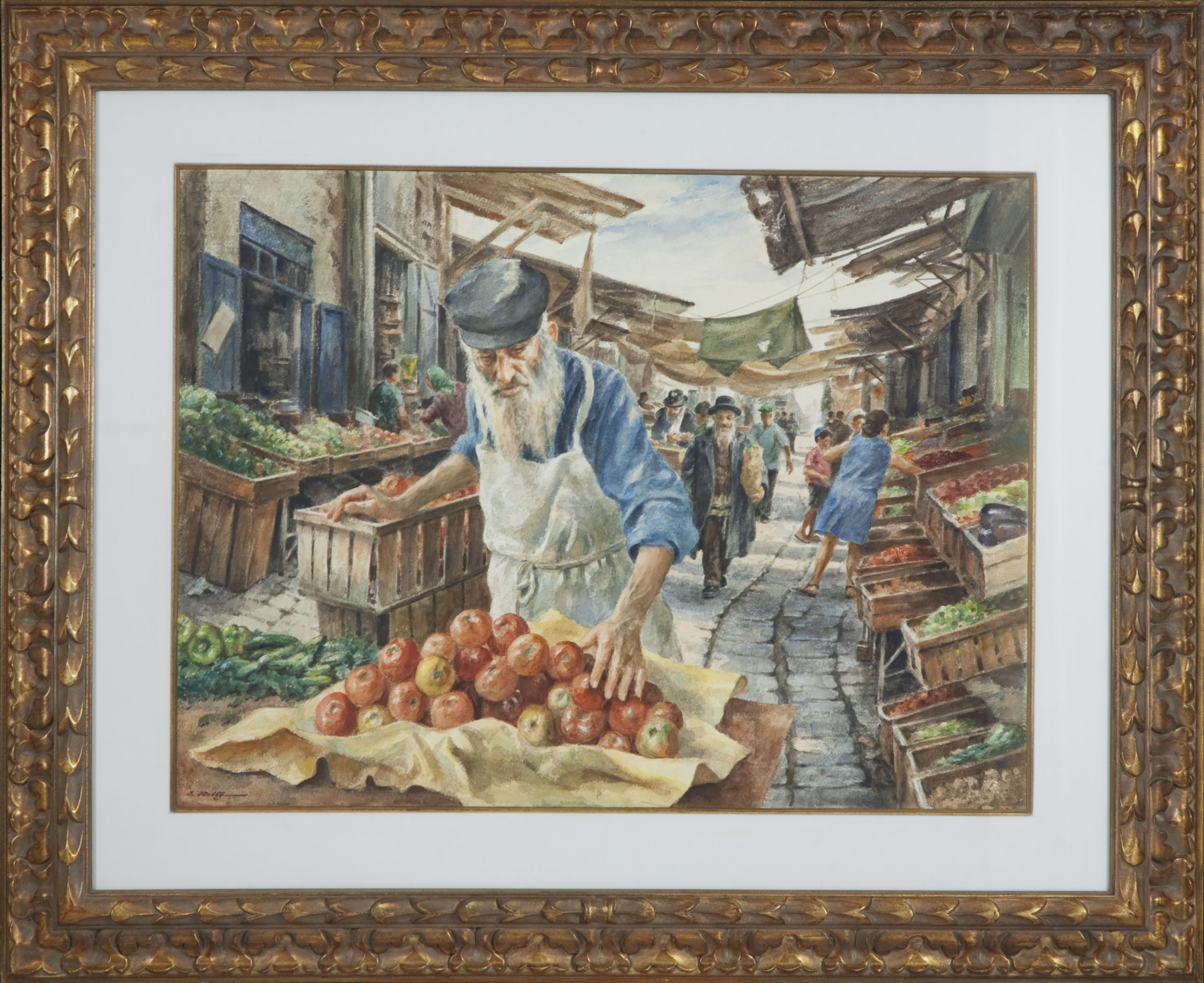 132 Market Place Israel 1974 - Watercolor - 29.5 x 21.75 - Frame: 42 x 34.25 x 1.5