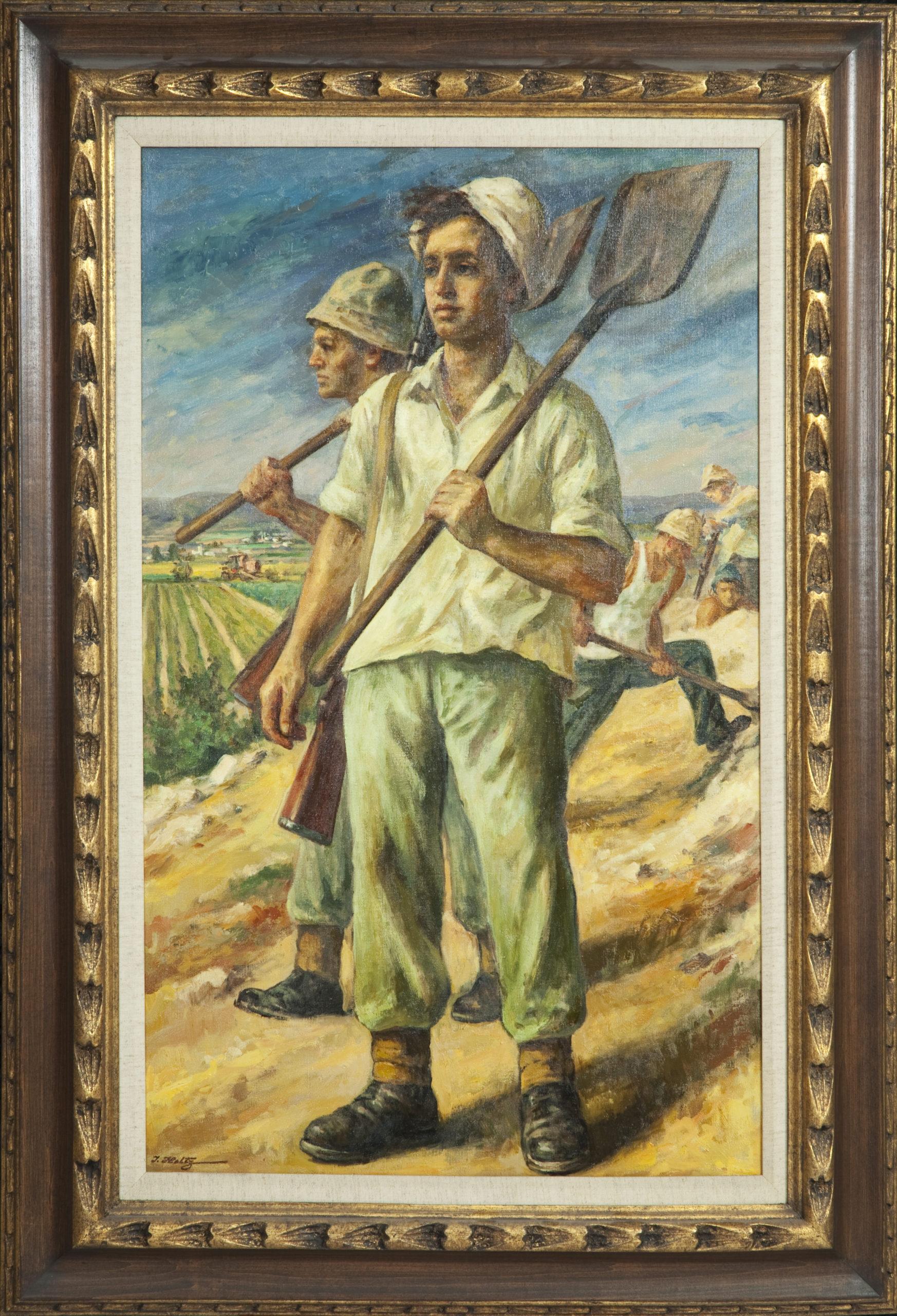 133 Israeli Spirit 1967 - Oil on Canvas - 22 x 36 - Frame: 31.5 x 45.5 x 2.5