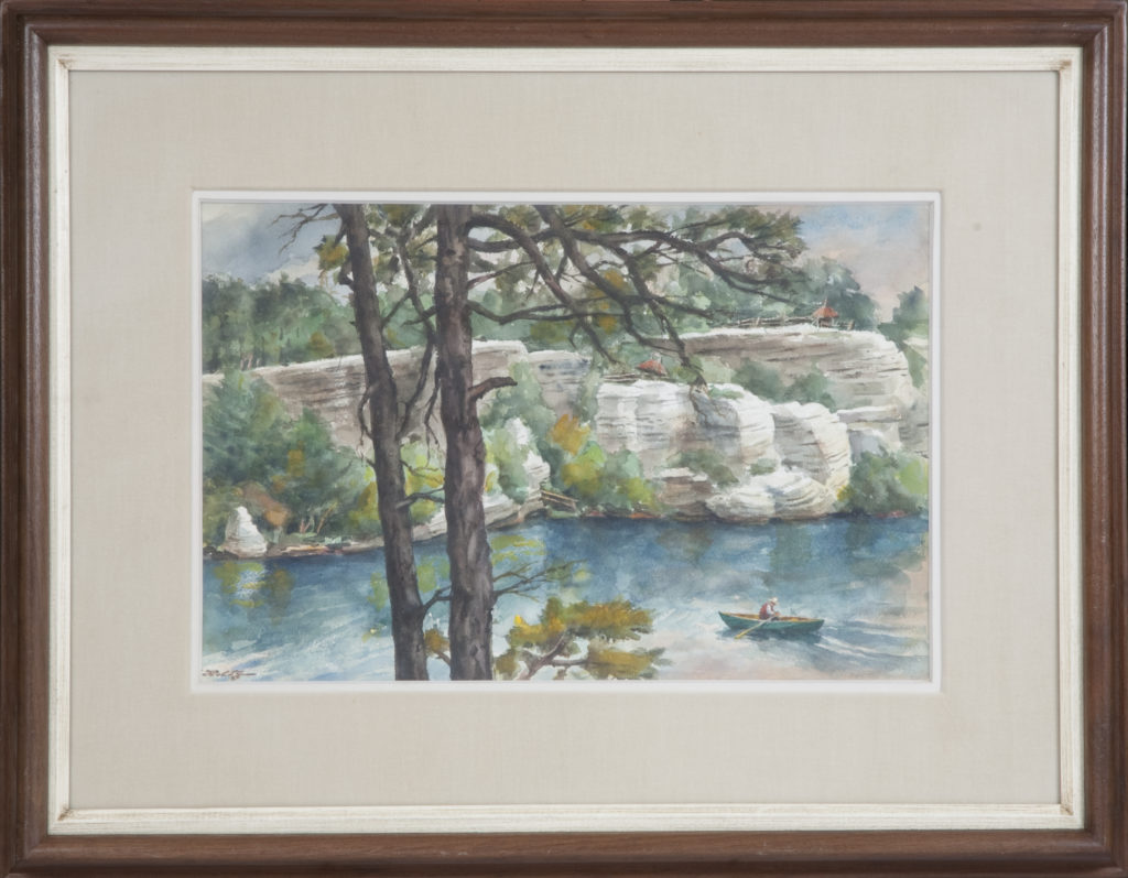 013 Rowing by the Rocks 1975 - Watercolor - 17.5 x 11.5 - Frame: 26.5 x 21 x 1.75