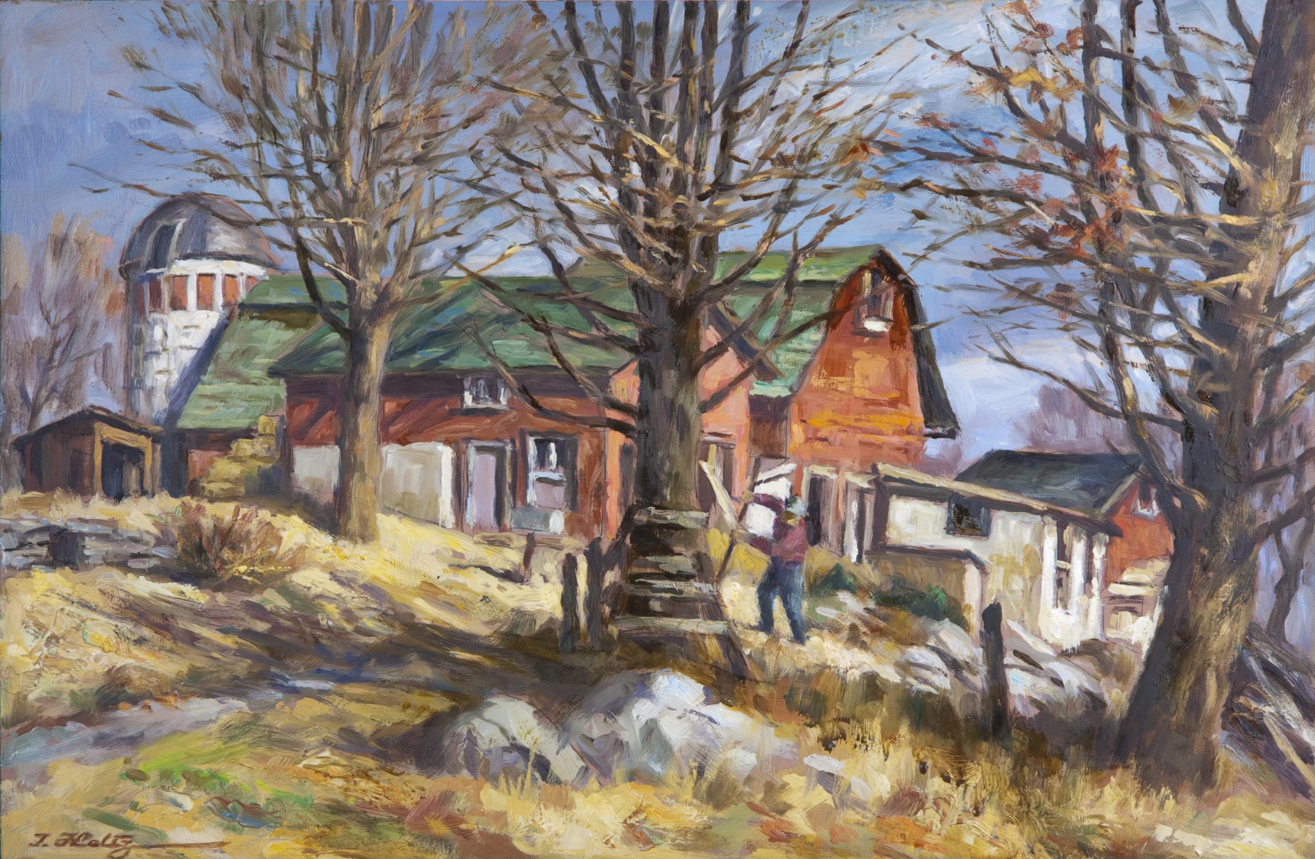 144 Farmhouse 1966 - Oil on Masonite - 18 x 12 - No Frame