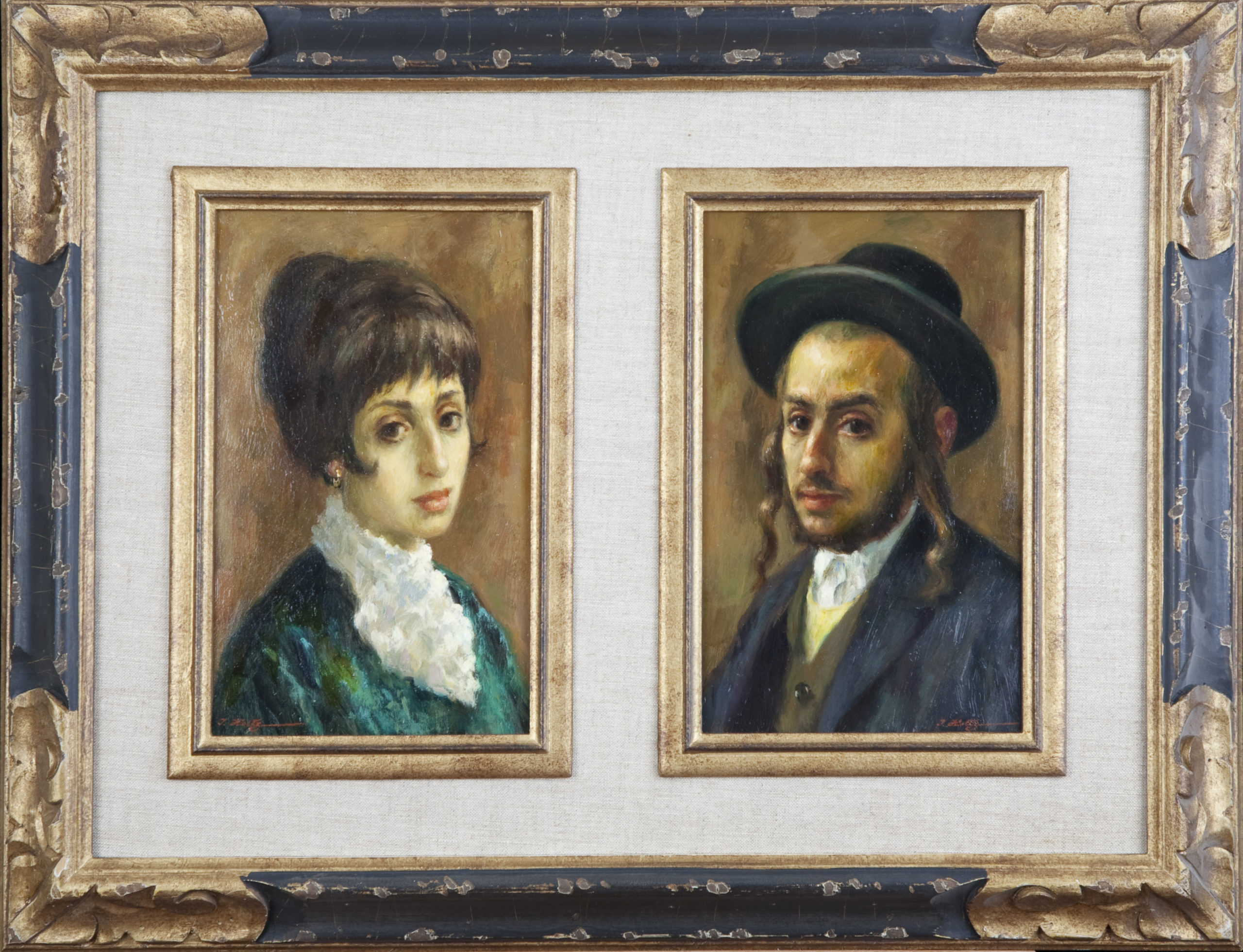 147 Chassidic Couple 1968 2 small pictures - Oil on Canvas - 6 x 10 - Frame: 23.25 x 17.75 x 1.5