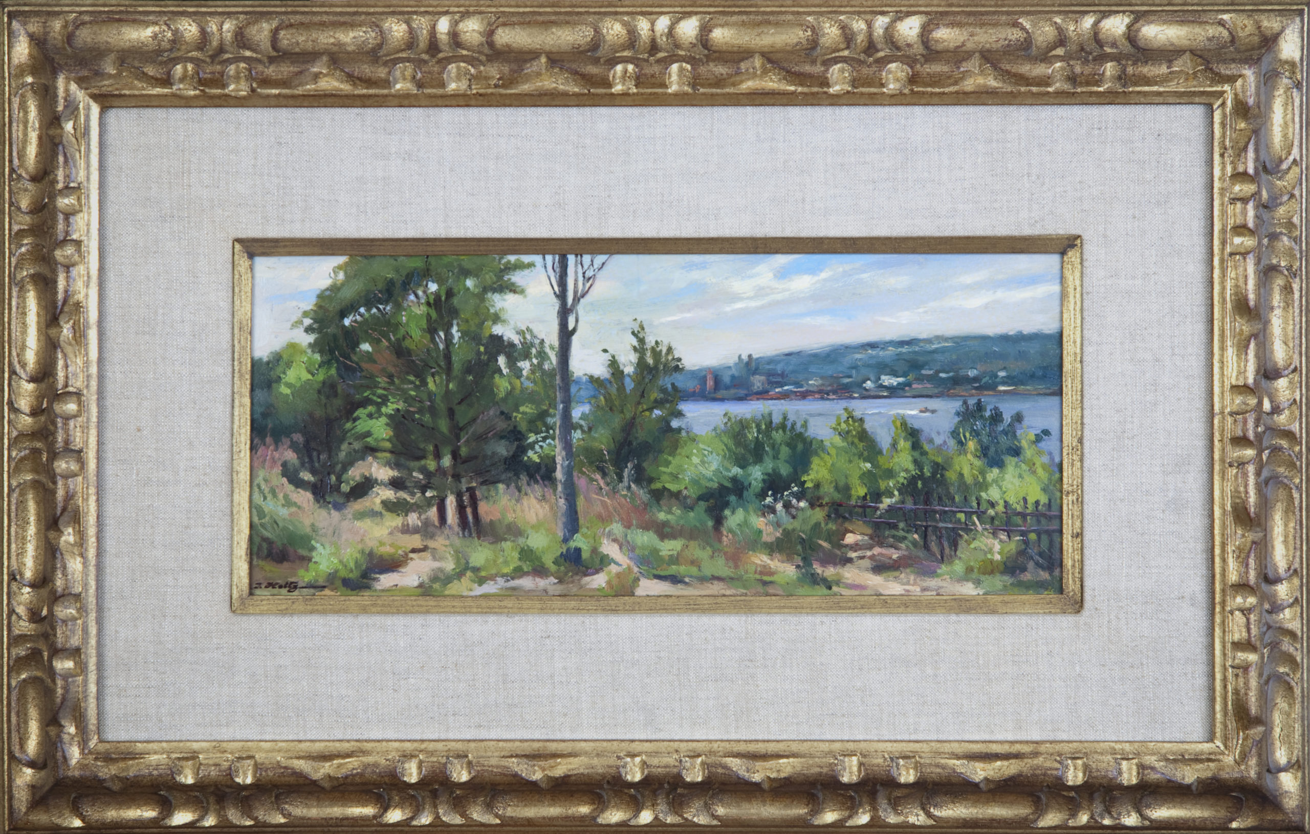 149 Along Side the River 1966 - Oil on Masonite - 14.5 x 6 - Frame: 23.25 x 15 x 1.5