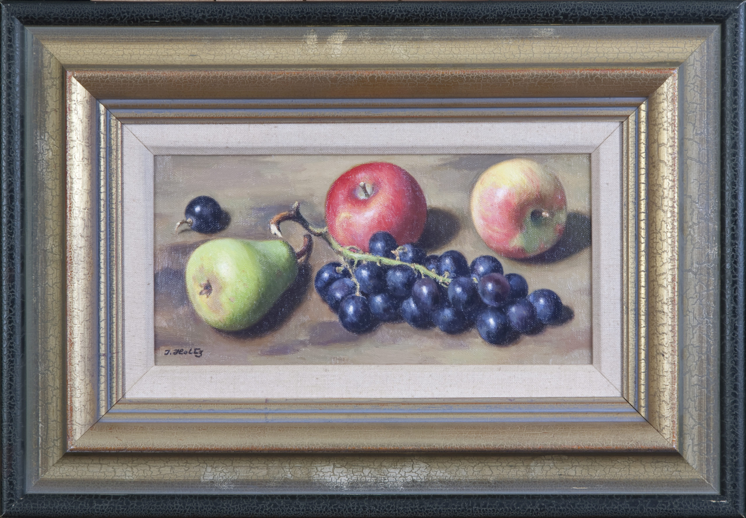 150 Pear Apples and Grapes 1964 - Oil on Canvas - 12 x 6 - Frame: 19.5 x 13.5 x 2