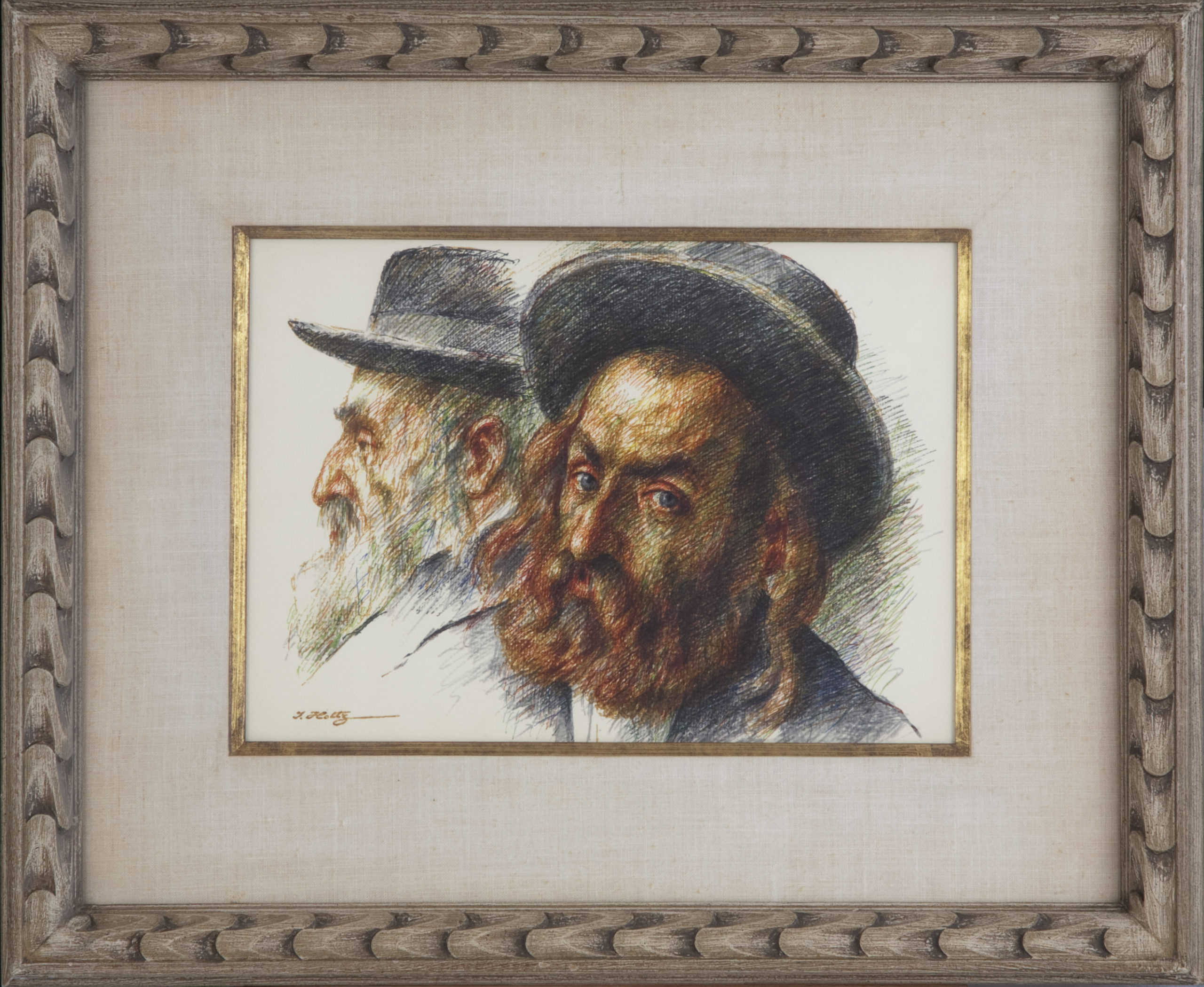 151 Chassidim 1968 - Colored ink - 14 x 10 - Frame: 23 x 19 x 1.75
