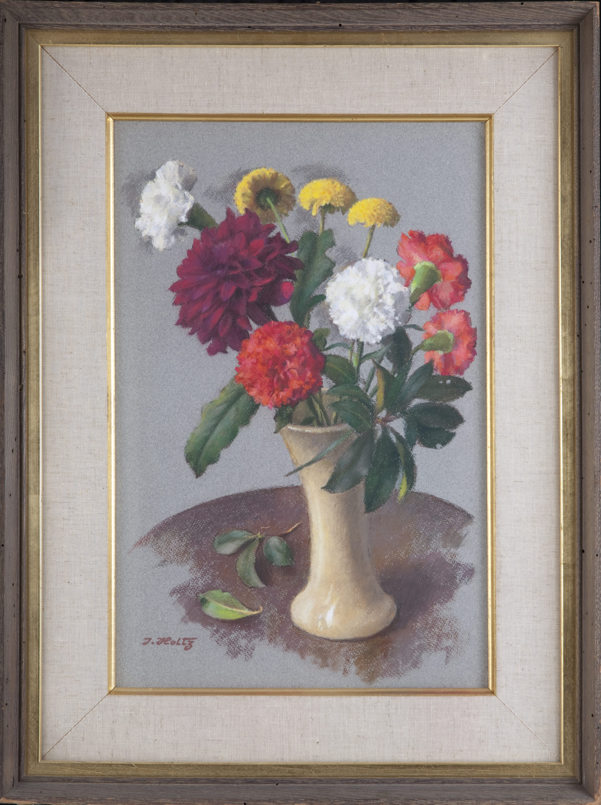 152 Carnations in Vase Still Life 1958 - Pastel - 19 x 12 - Frame: 26.25 x 19.75 x 2.25