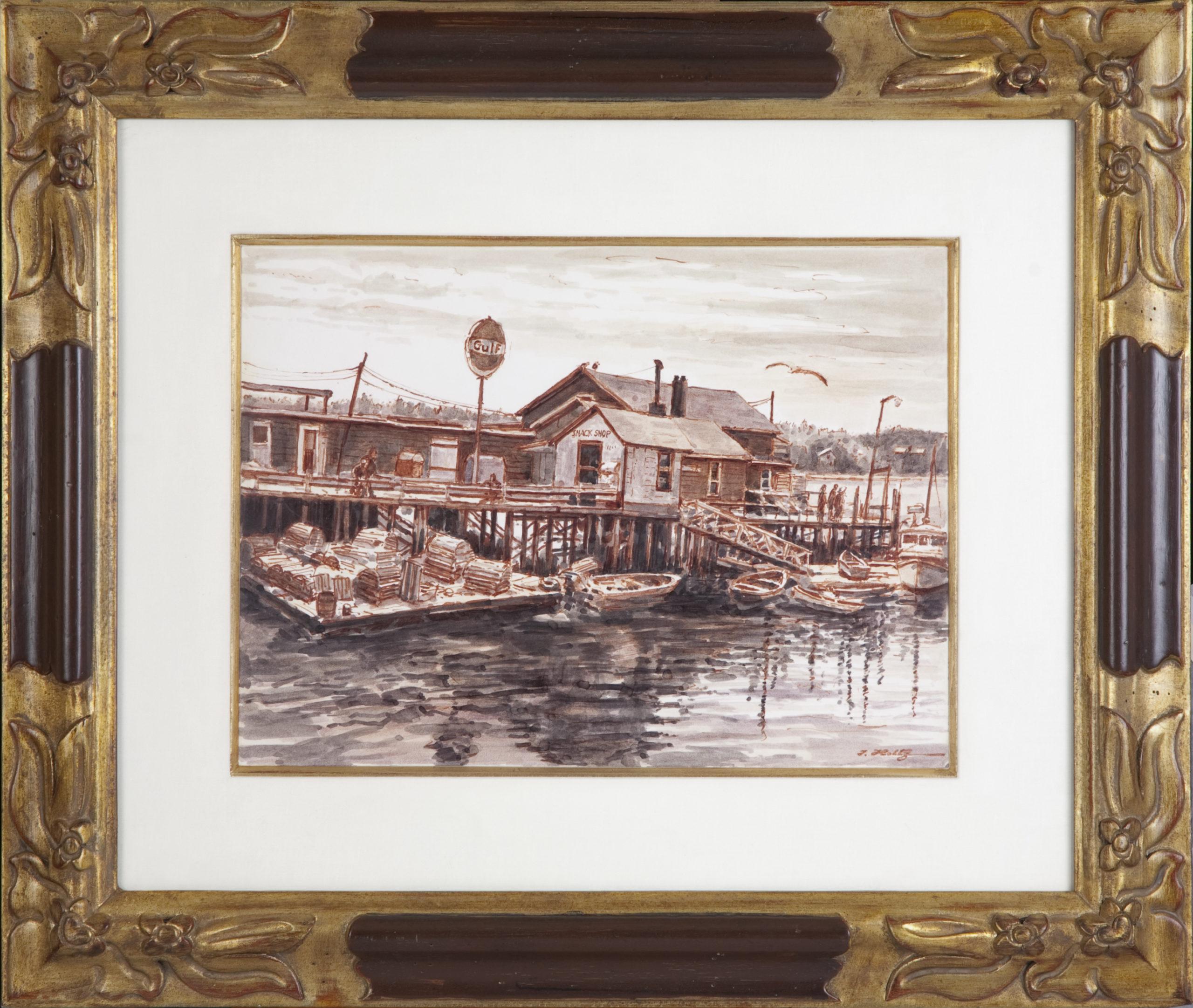 156 Maine Pier 1972 - Marker - 15 x 11 - Frame: 25 x 21 x 1.25