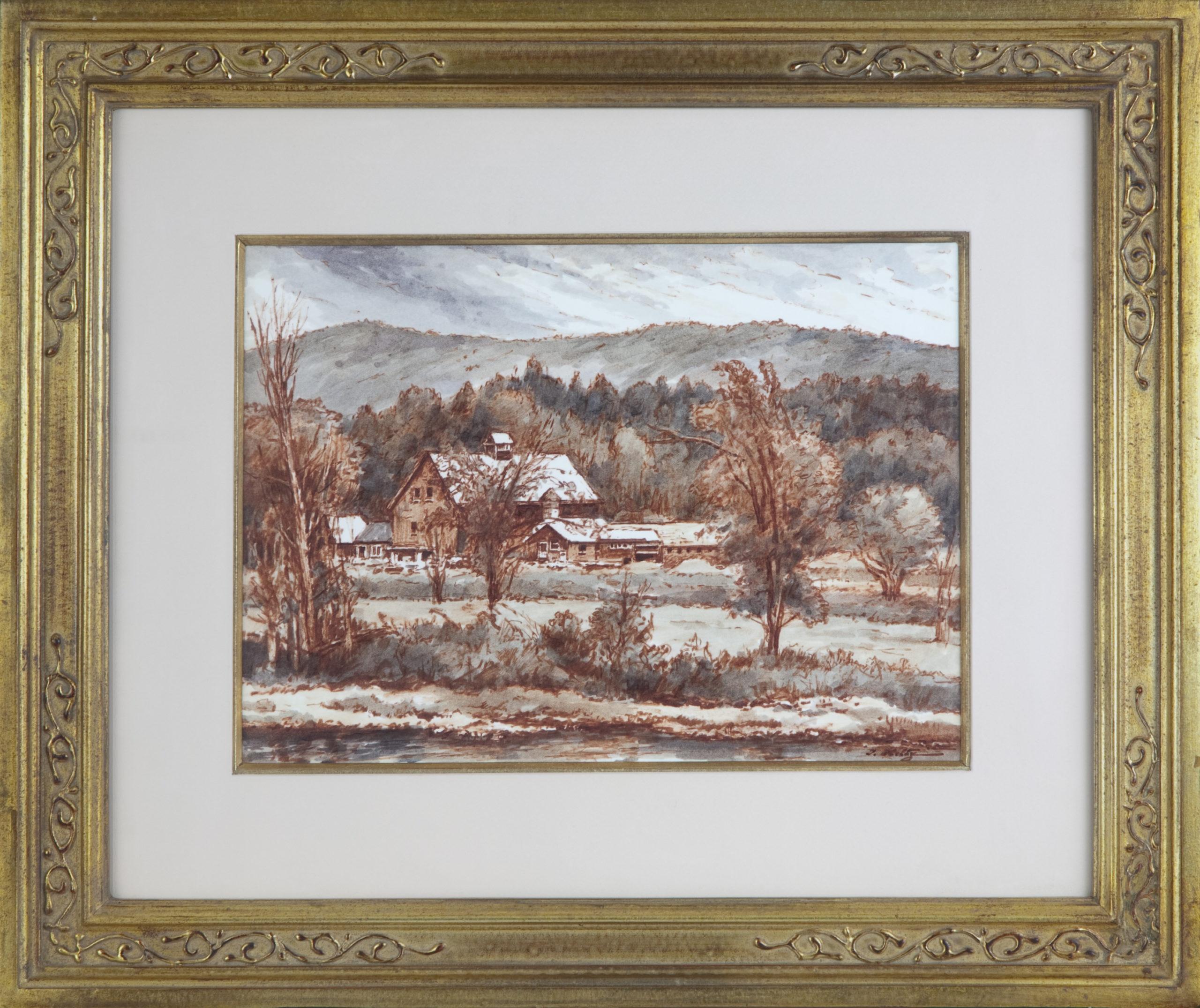 157 New England Farm 1973 - Marker - 15 x 11 - Frame: 25 x 20.5 x 1.5