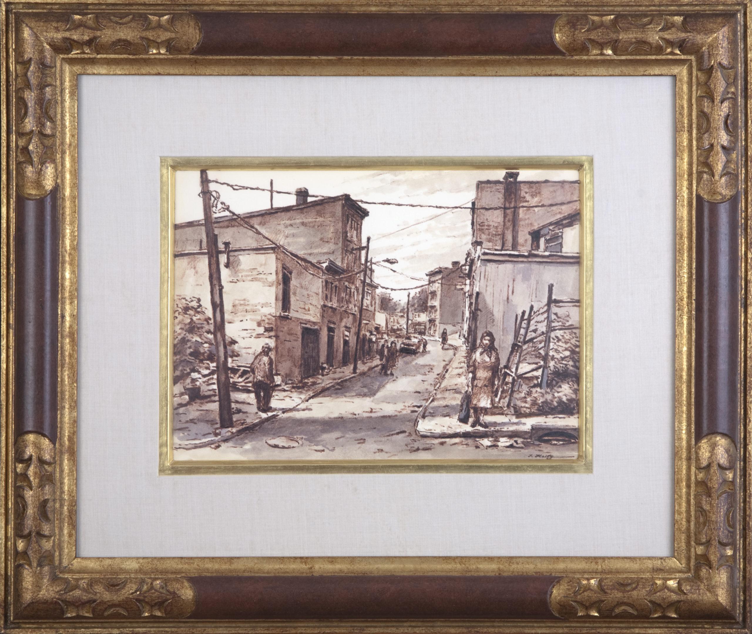 161 Yonkers Street 1970 - Felt Pen & Wash - 12 x 8.75 - Frame: 22 x 18.5 x 1.25