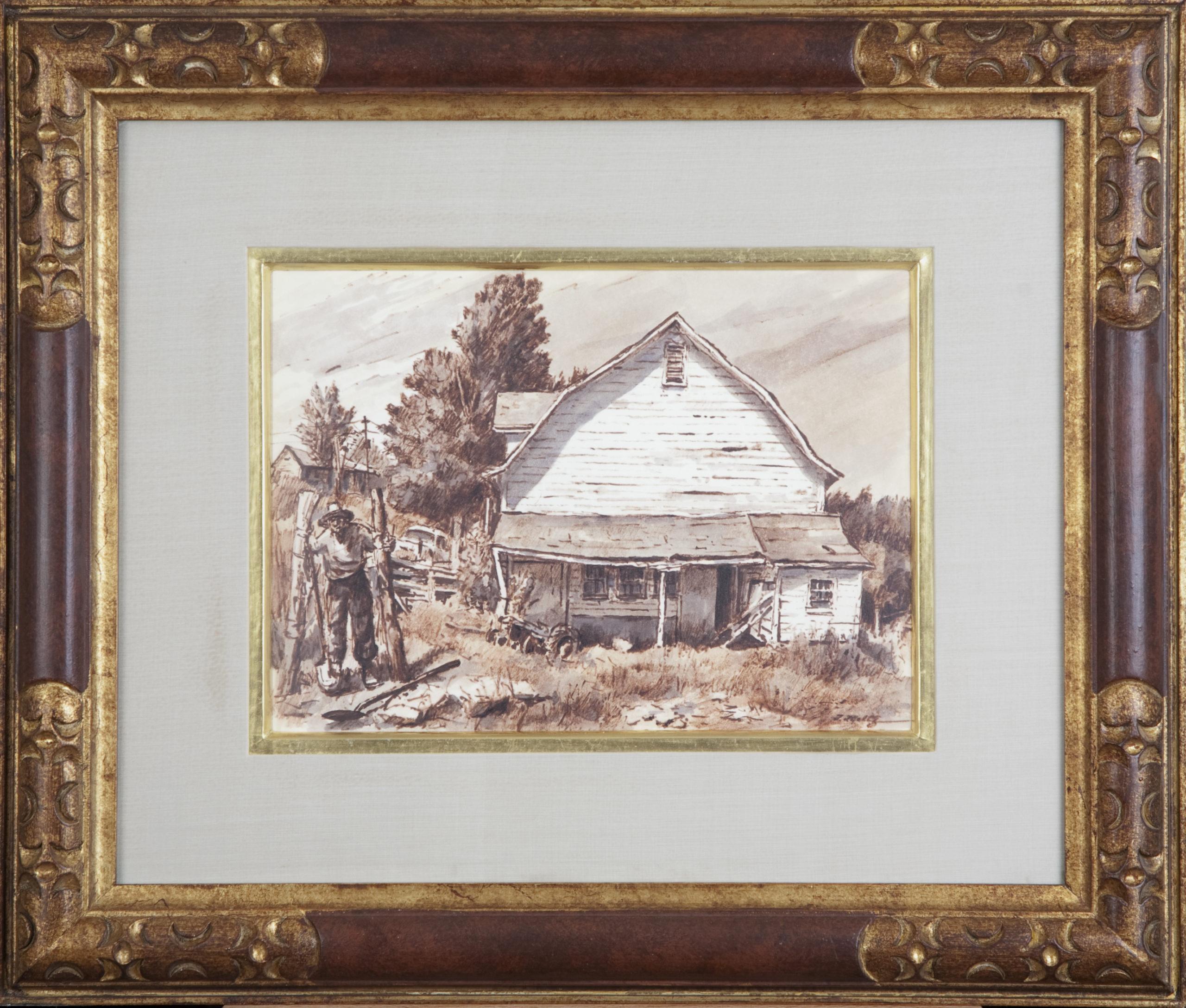 162 Sams Barn 1970 - Marker - 12 x 8.75 - Frame: 22 x 18.5 x 1.25