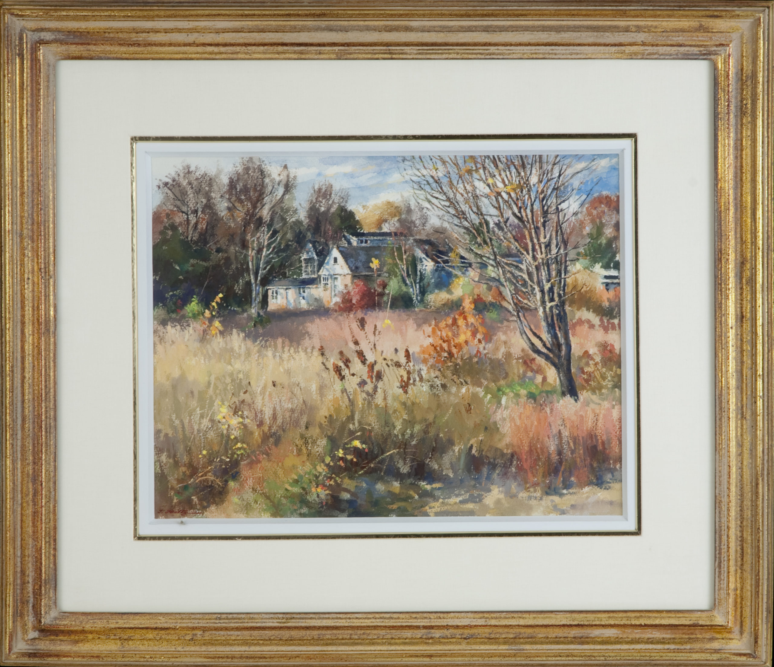166 Autumn Afternoon 1975 - Watercolor - 16 x 12 - Frame: 26 x 22.25 x 2