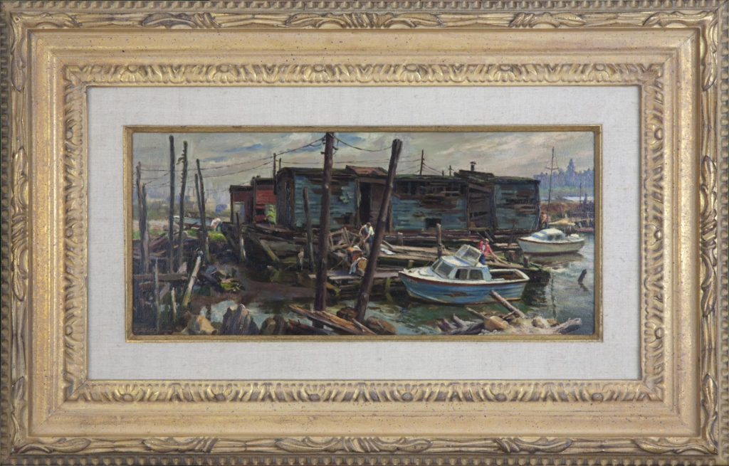 016 Barge on the Hudson 1975 - Oil on Masonite - 18 x 8 - Frame: 27.5 x 17.75 x 2.25