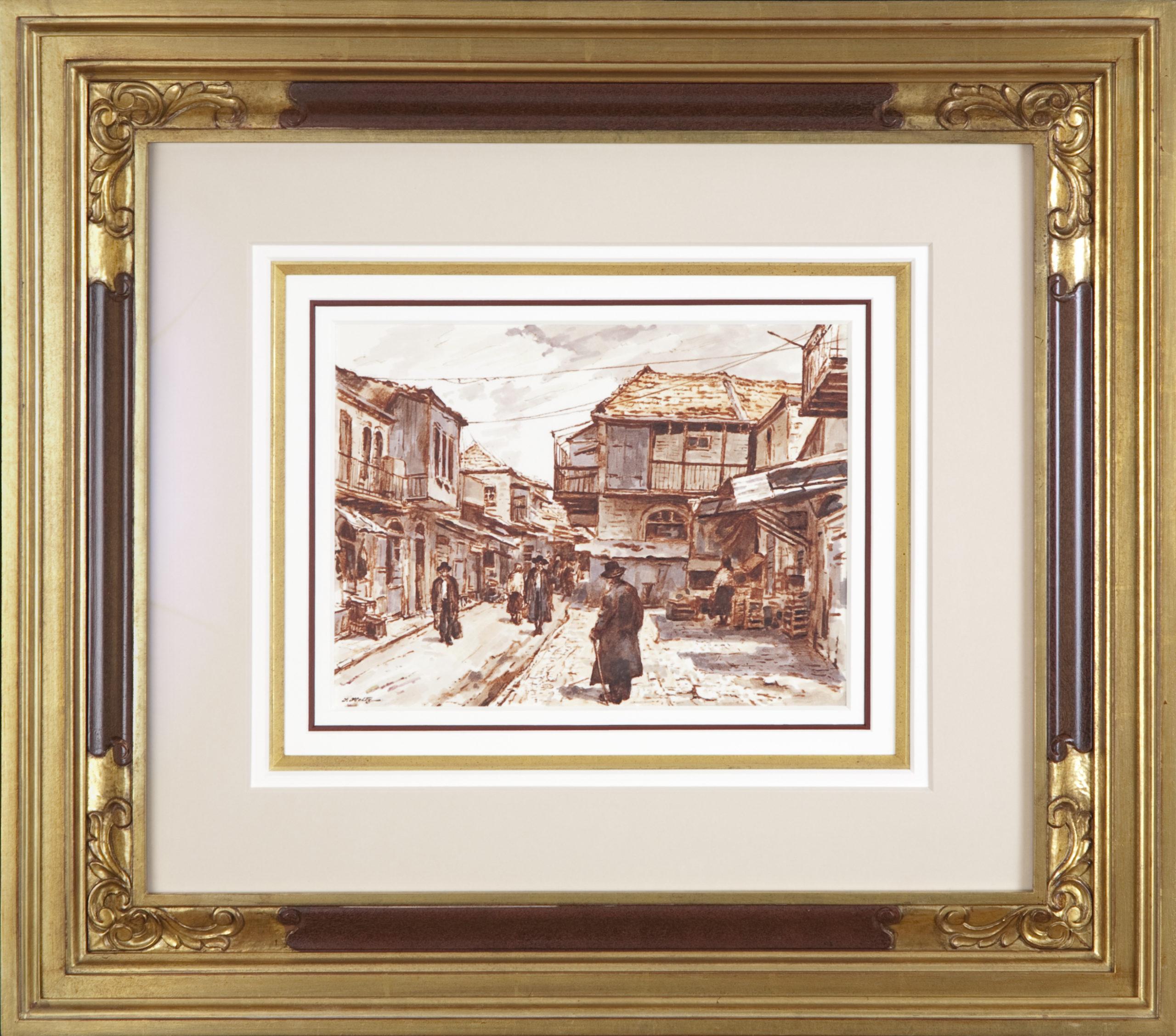 174 Meah Shearim 1974 - Marker - 11.5 x 9 - Frame: 27 x 24 x 2.75