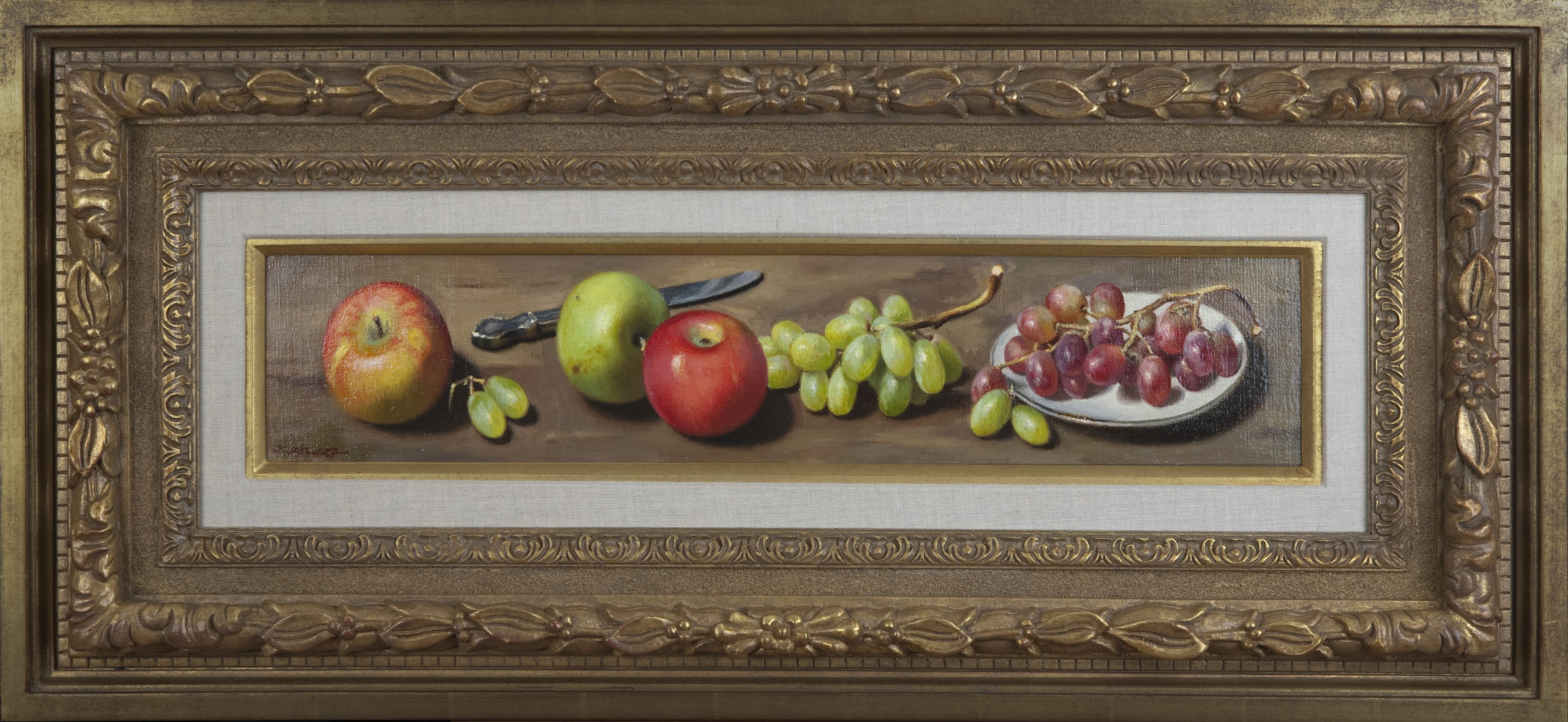 177 Apples and Grapes 1961 - Oil on Masonite - 23.825 x 4.825 - Frame: 35 x 16 x 2.5