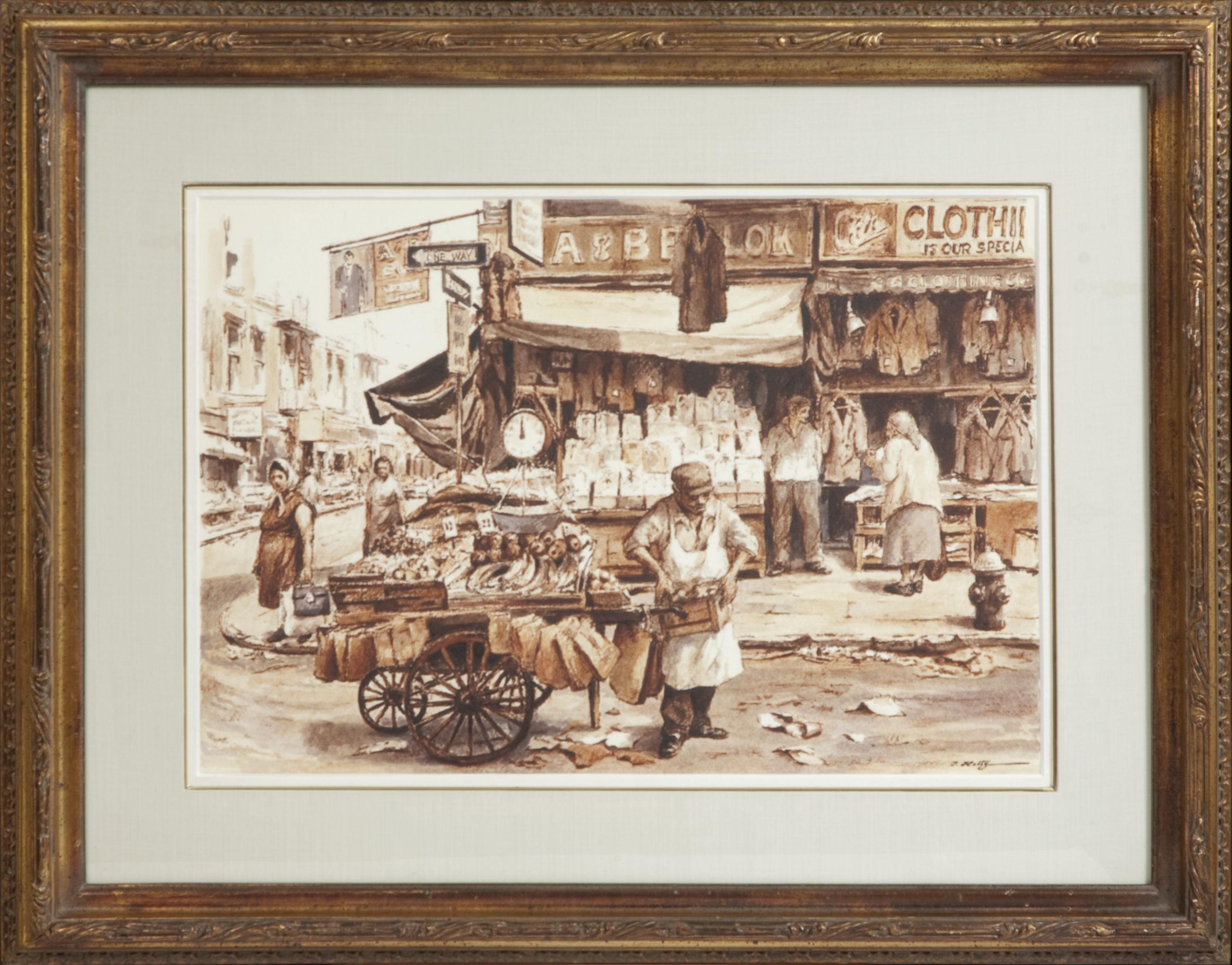 181 Street Market 1970 - Felt Pen and Wash - 22.5 x 15.25 - Frame: 33 x 26 x 1.75