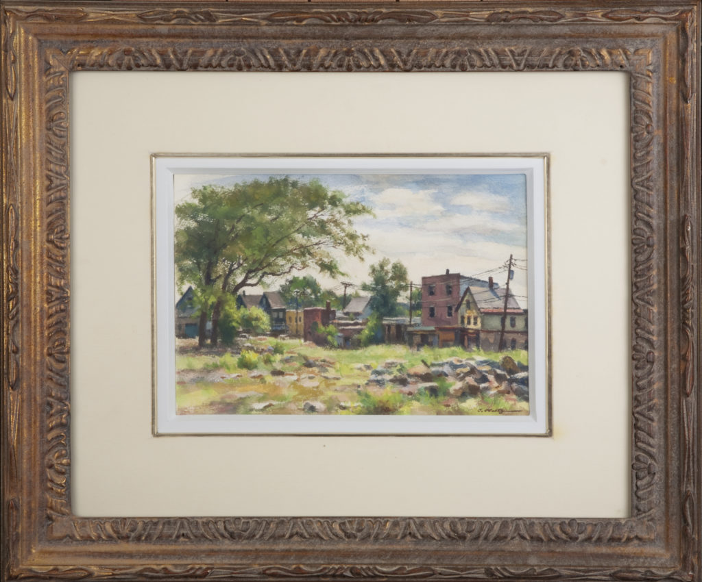 017 Town in the Country 1974 - Watercolor - 10 x 7 - Frame: 19.75 x 16.75 x 1.75