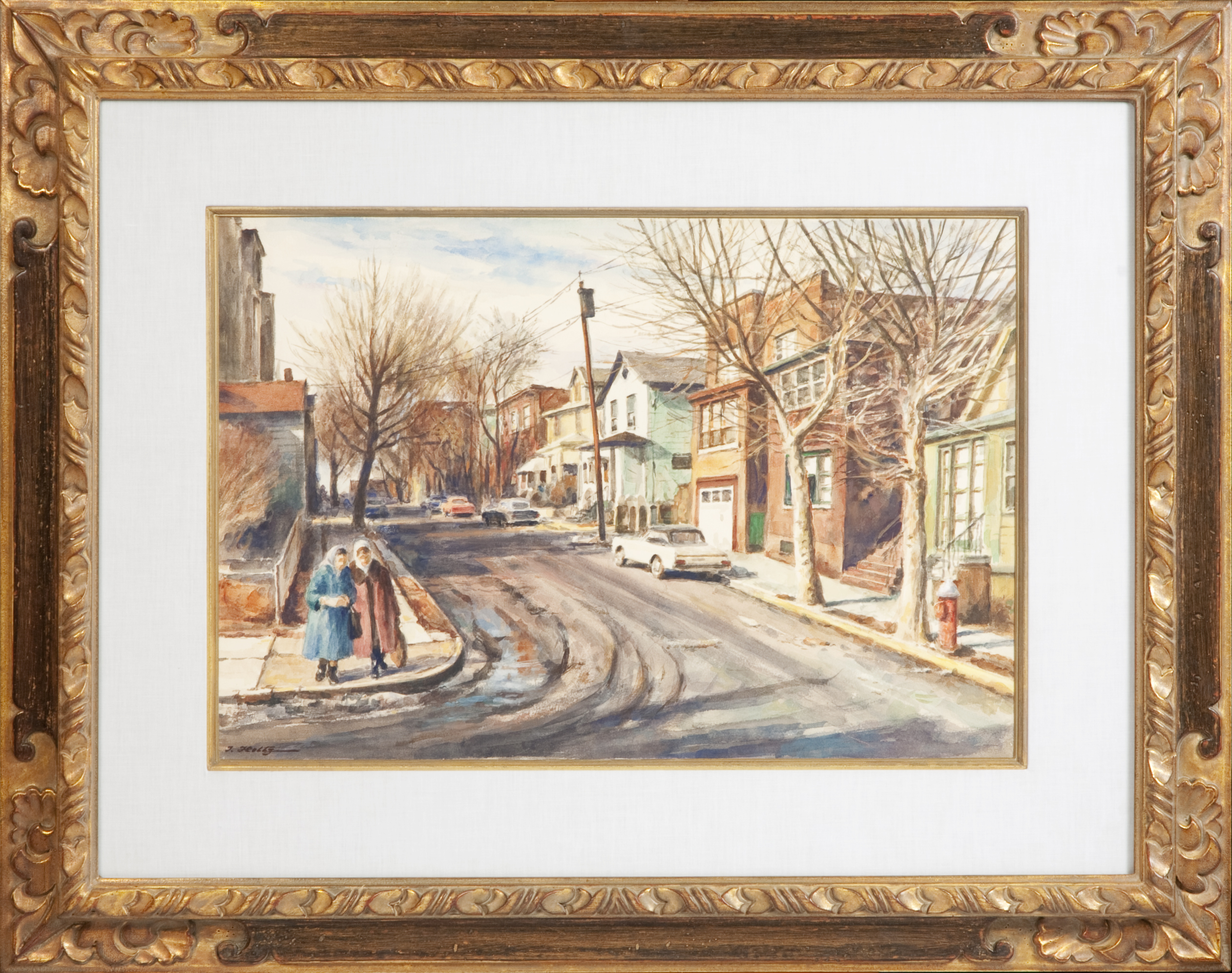 183 Street Scene New Jersey 1974 - Watercolor - 22 x 15 - Frame: 34 x 27 x 1.75