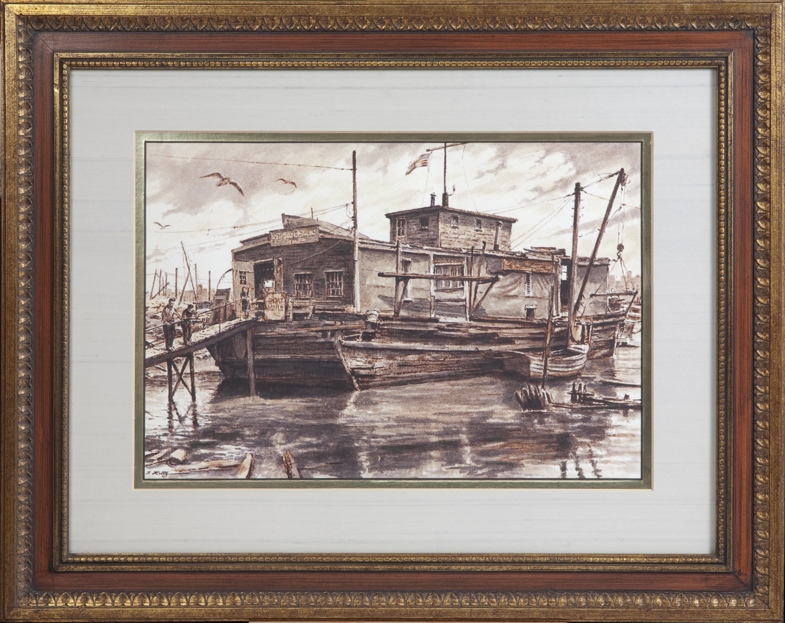 184 Willies Boat 1970 - Felt Pen and Wash - 22 x 14.75 - Frame: 34.5 x 27.25 x 1.25