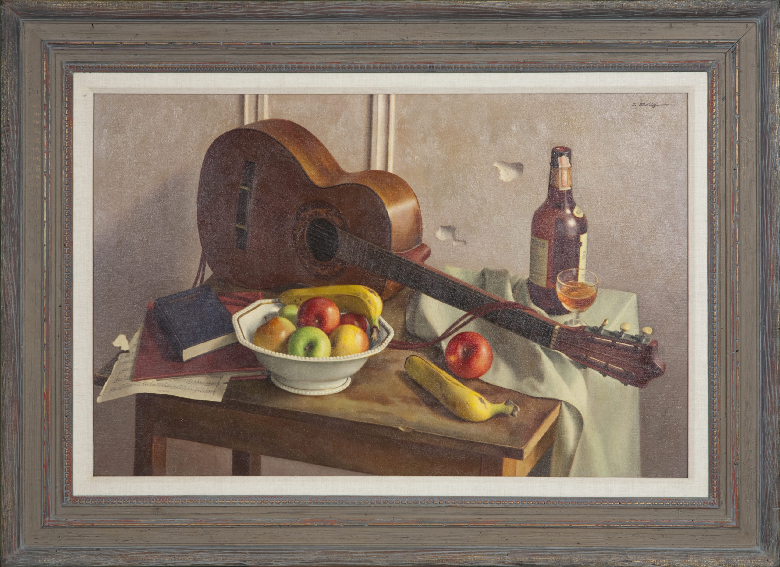 187 Still Life Guitar and Fruit 1953 - Oil on Canvas - 44 x 25.75 - Frame: 51.25 x 37.5 x 2.5