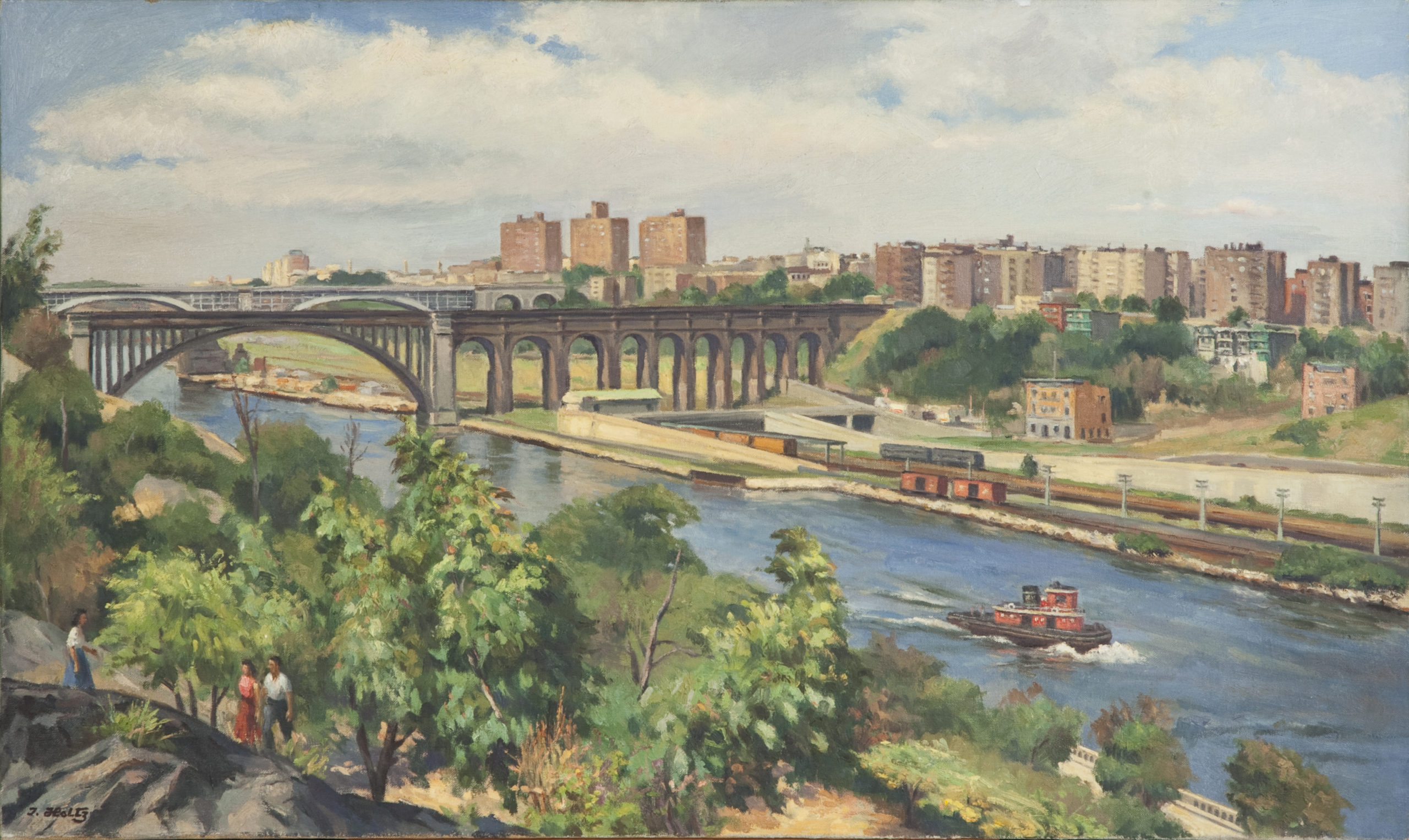 189 East River 1957 - Oil on Canvas - 30.5 x 18 - No Frame