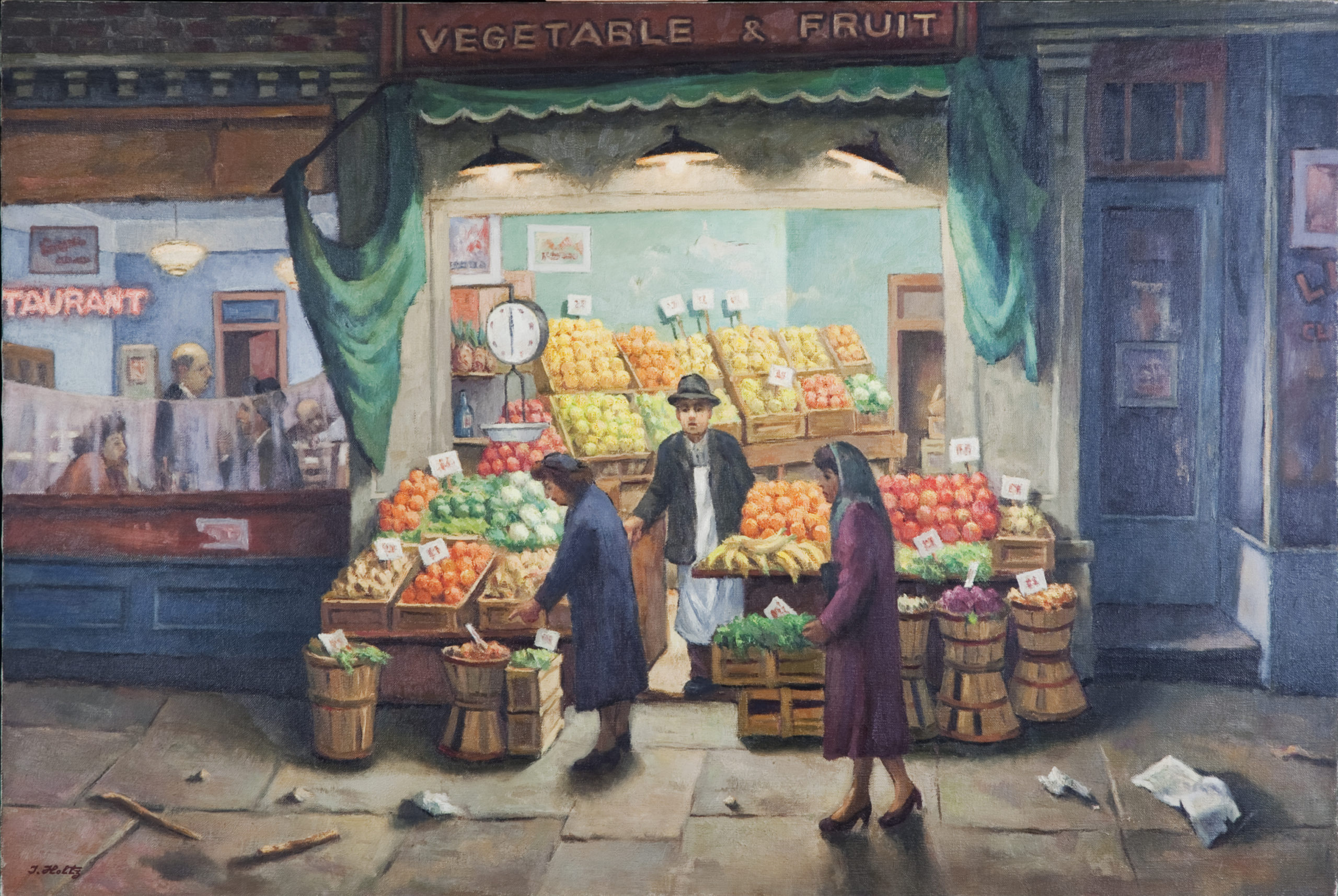 190 Vegetable and Fruit Store 1953 - Oil on Canvas - 36 x 24 - No Frame