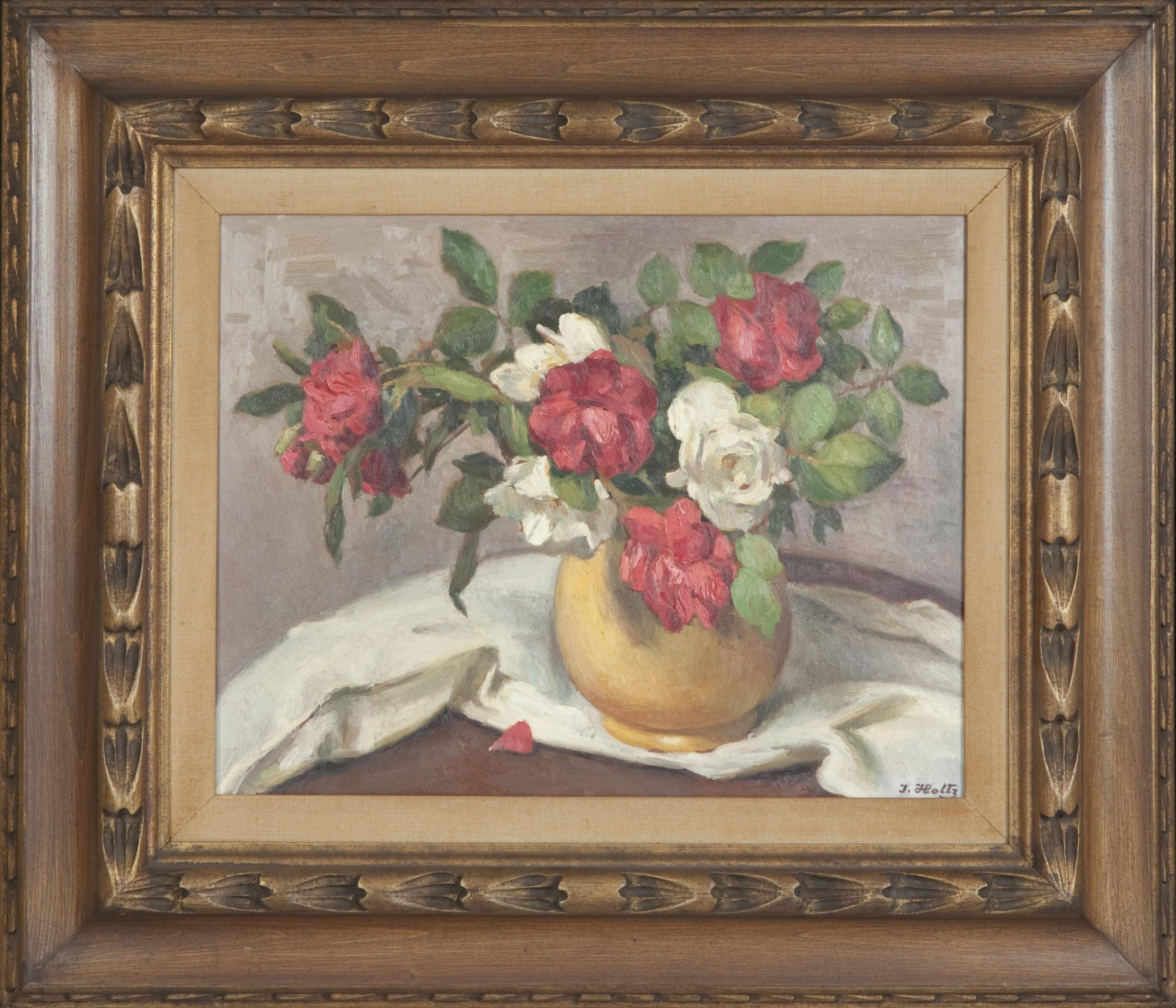 196 Flower Study 1962 - Oil on Masonite - 20.5 x 16.25 - Frame: 27.75 x 23.75 x 2