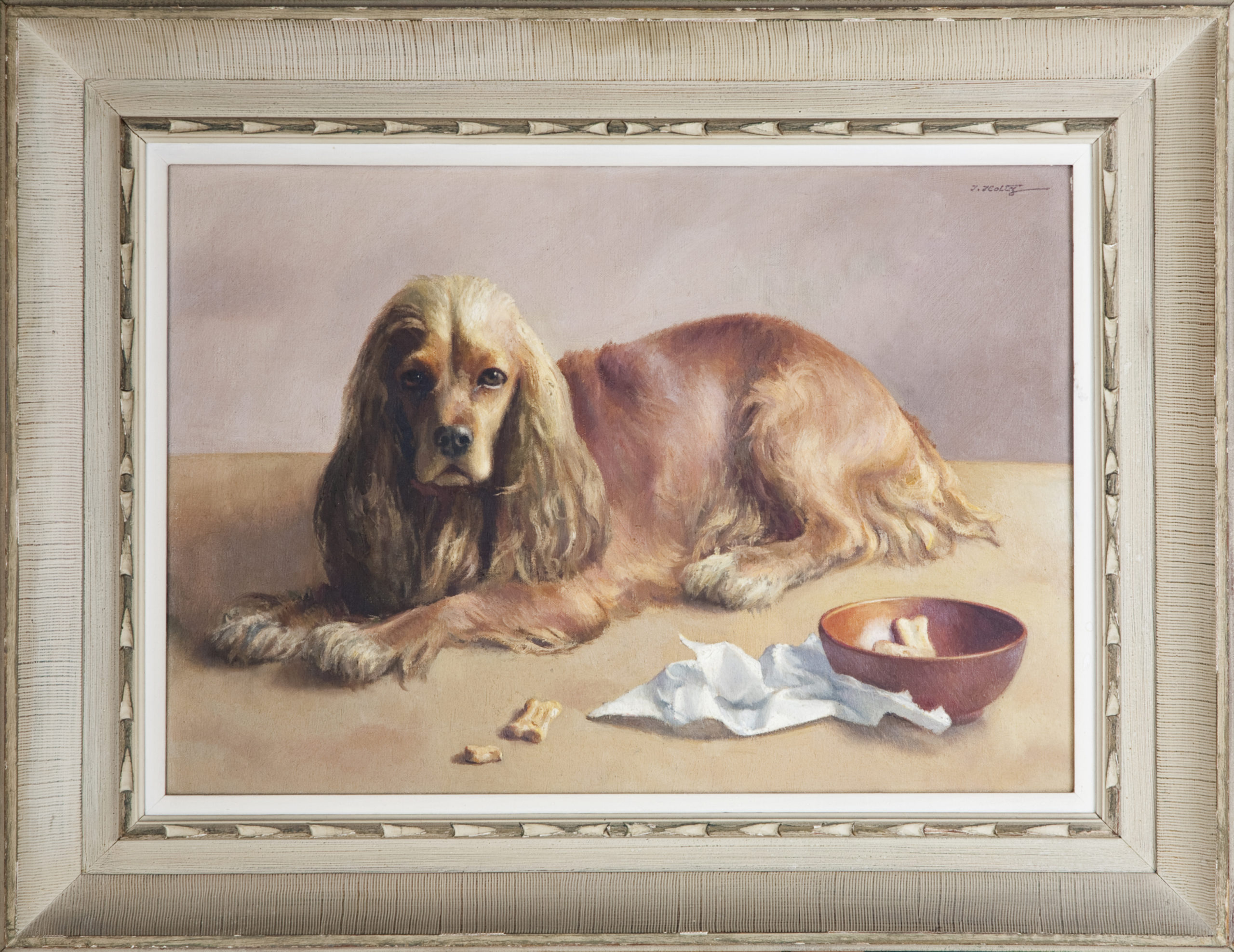 198 Duke cocker spaniel 1957 - 26 x 18 - Frame: 35 x 26.75 x 2.75