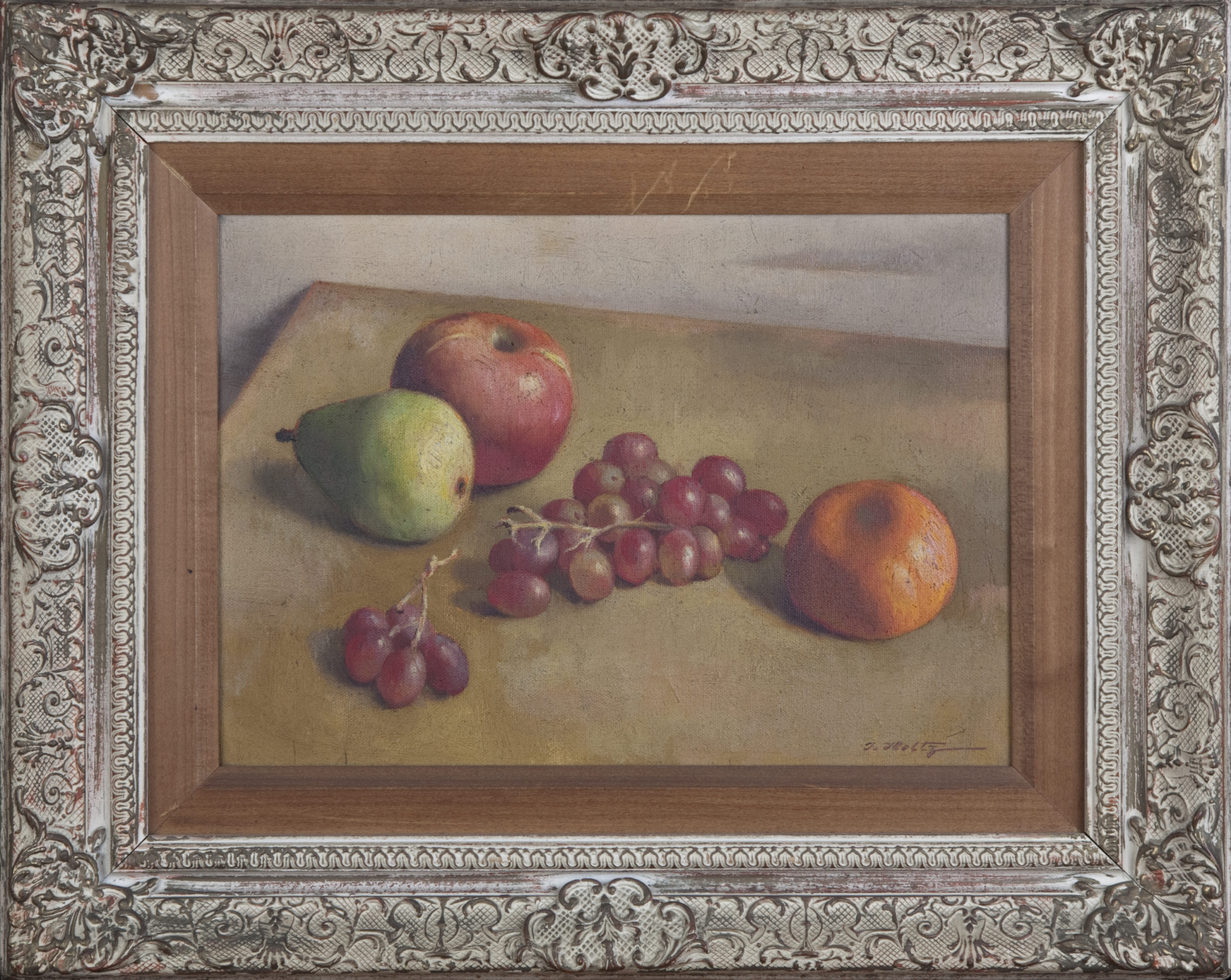 201 Still Life Apple Pear Grapes. Orange 1950 - Oil on Canvas - 14 x 10 - Frame: 20.5 x 16.5 x 2
