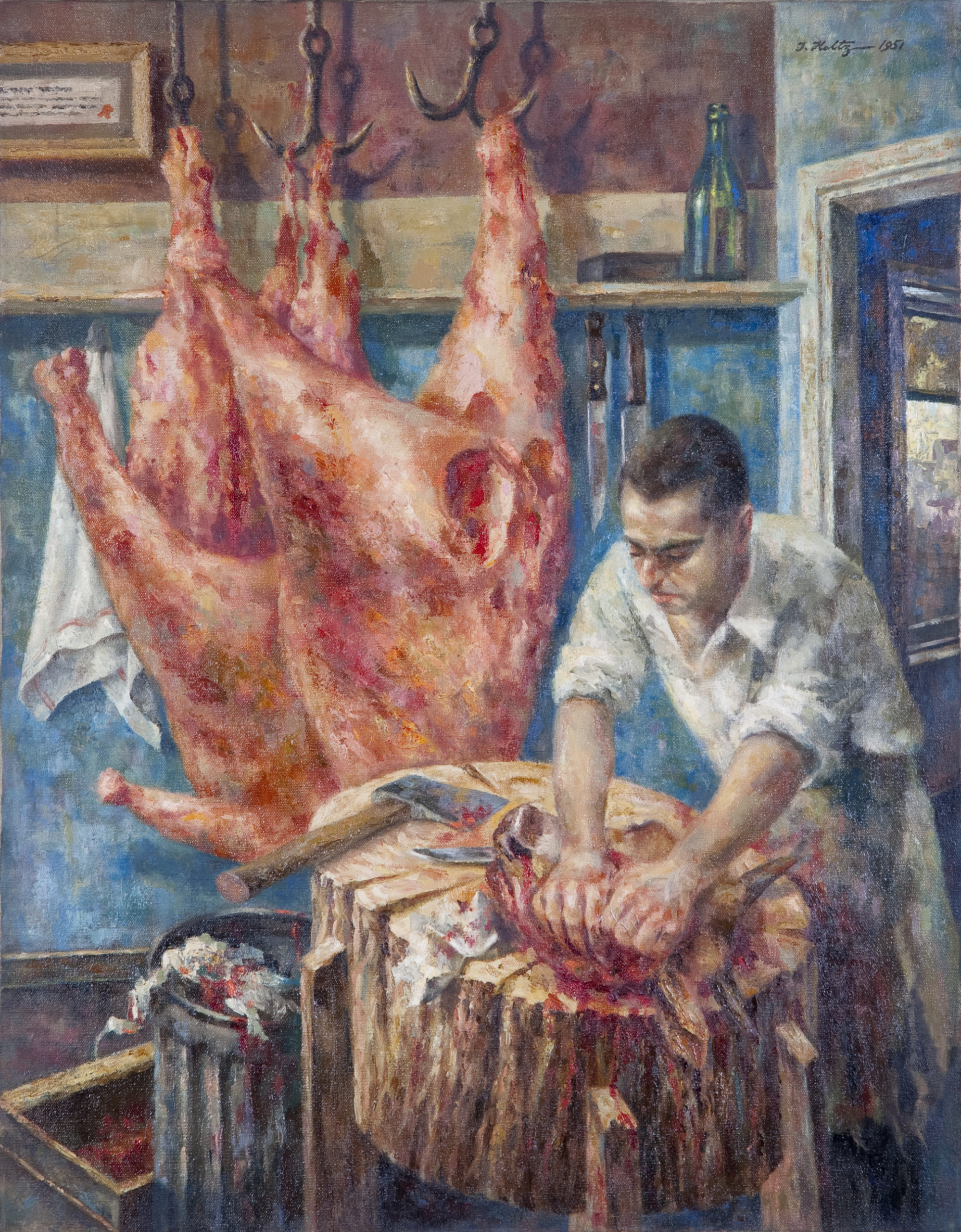 213 Butcher in His Shop 1951 - Oil on Canvas - 22 x 28.25 - No Frame