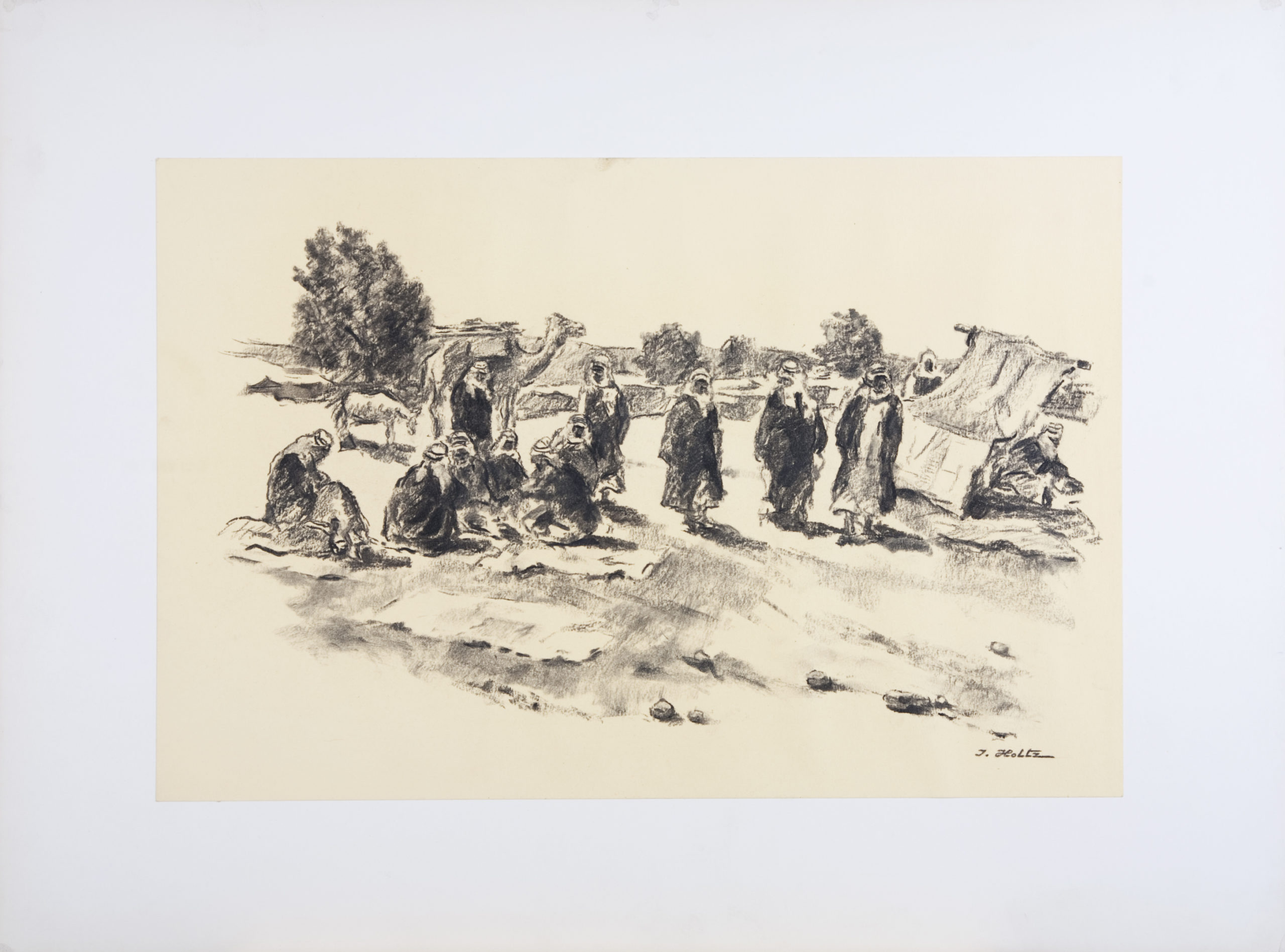 220 Bedouins 1959 - Charcoal - 18 x 12 - No Frame