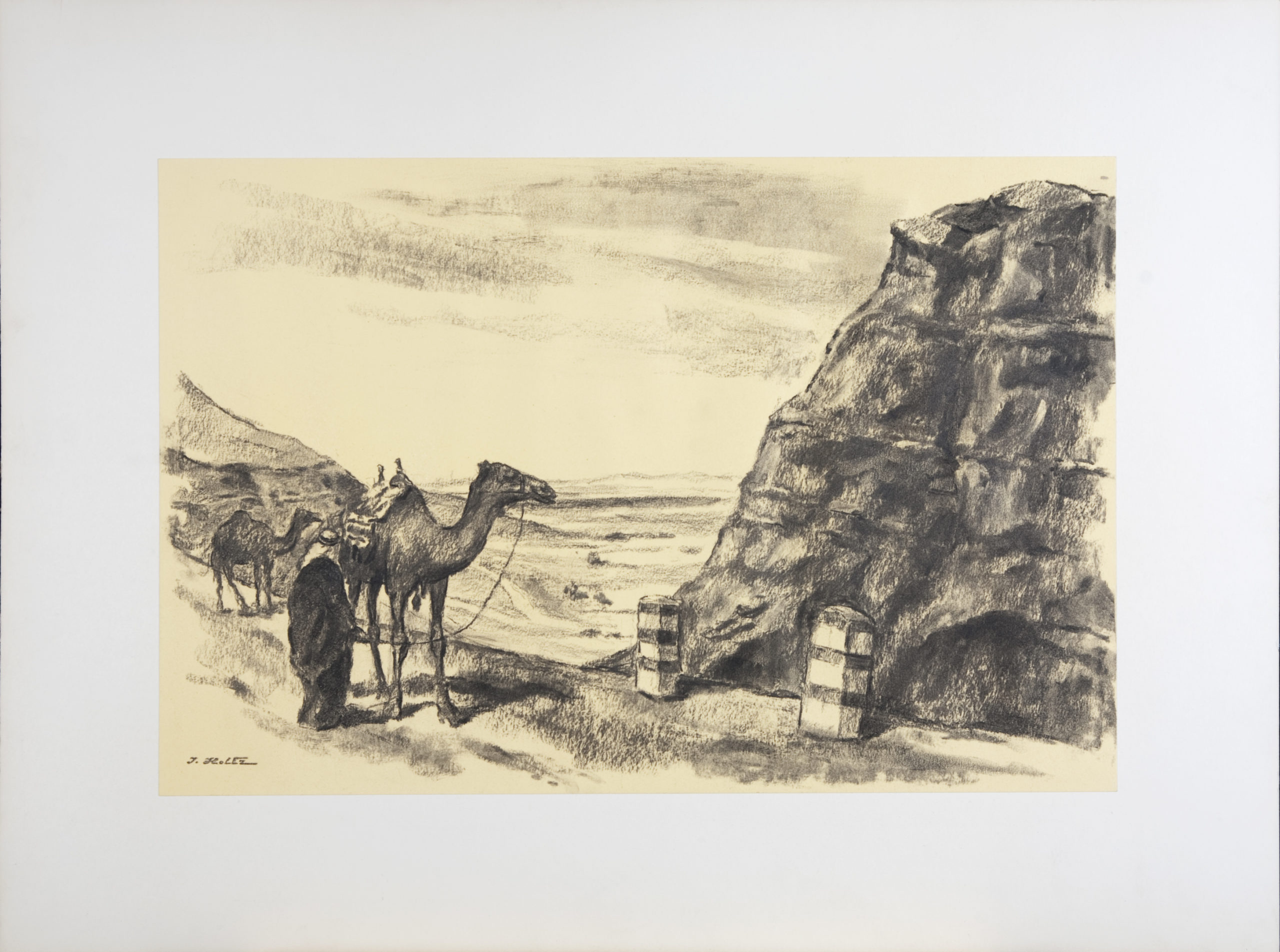 221 Bedouins with Camels 1959 - Charcoal - 18 x 12 - No Frame