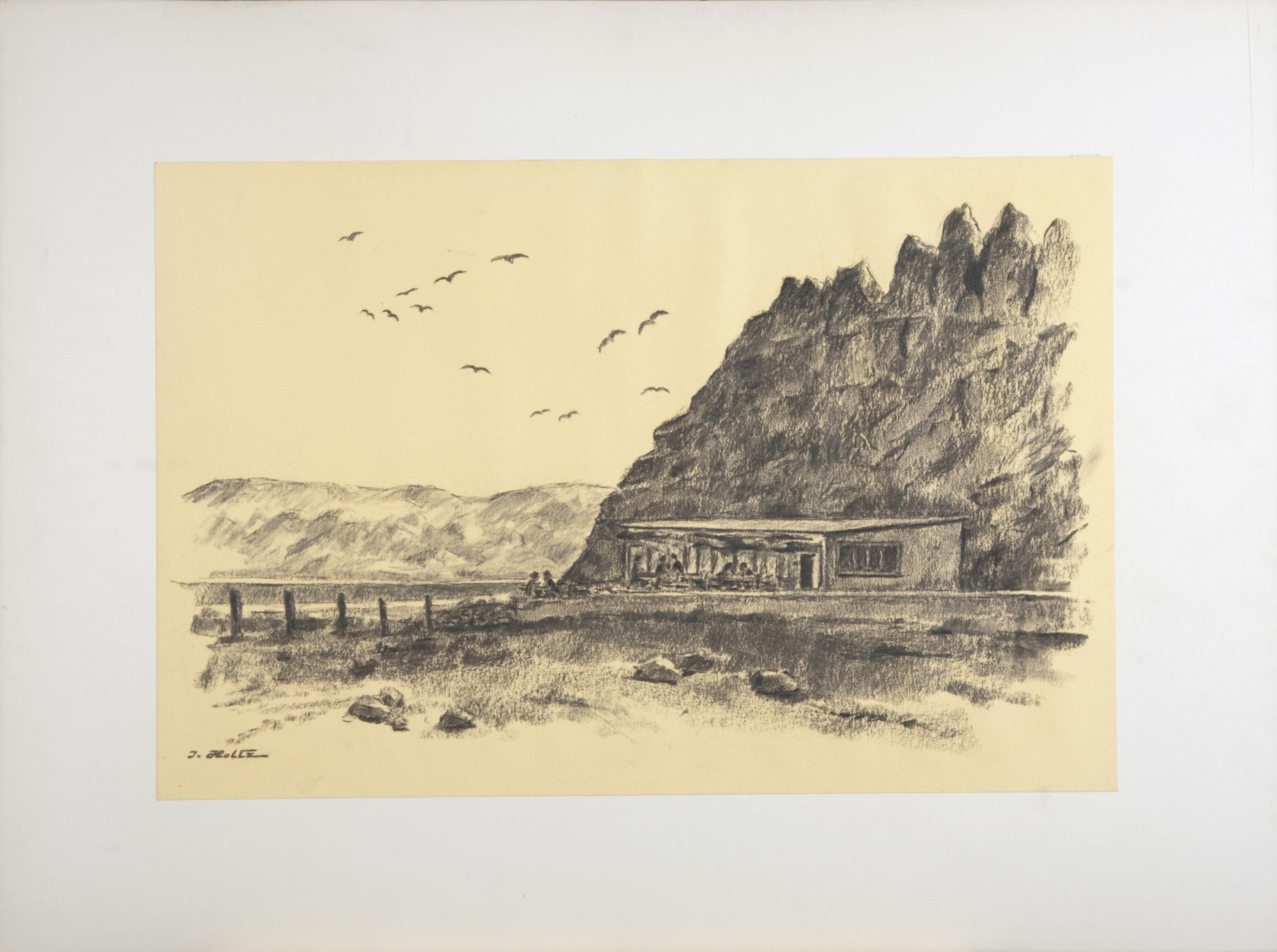222 Dessert Roadside Stand 1959 - Charcoal - 18 x 12 - No Frame