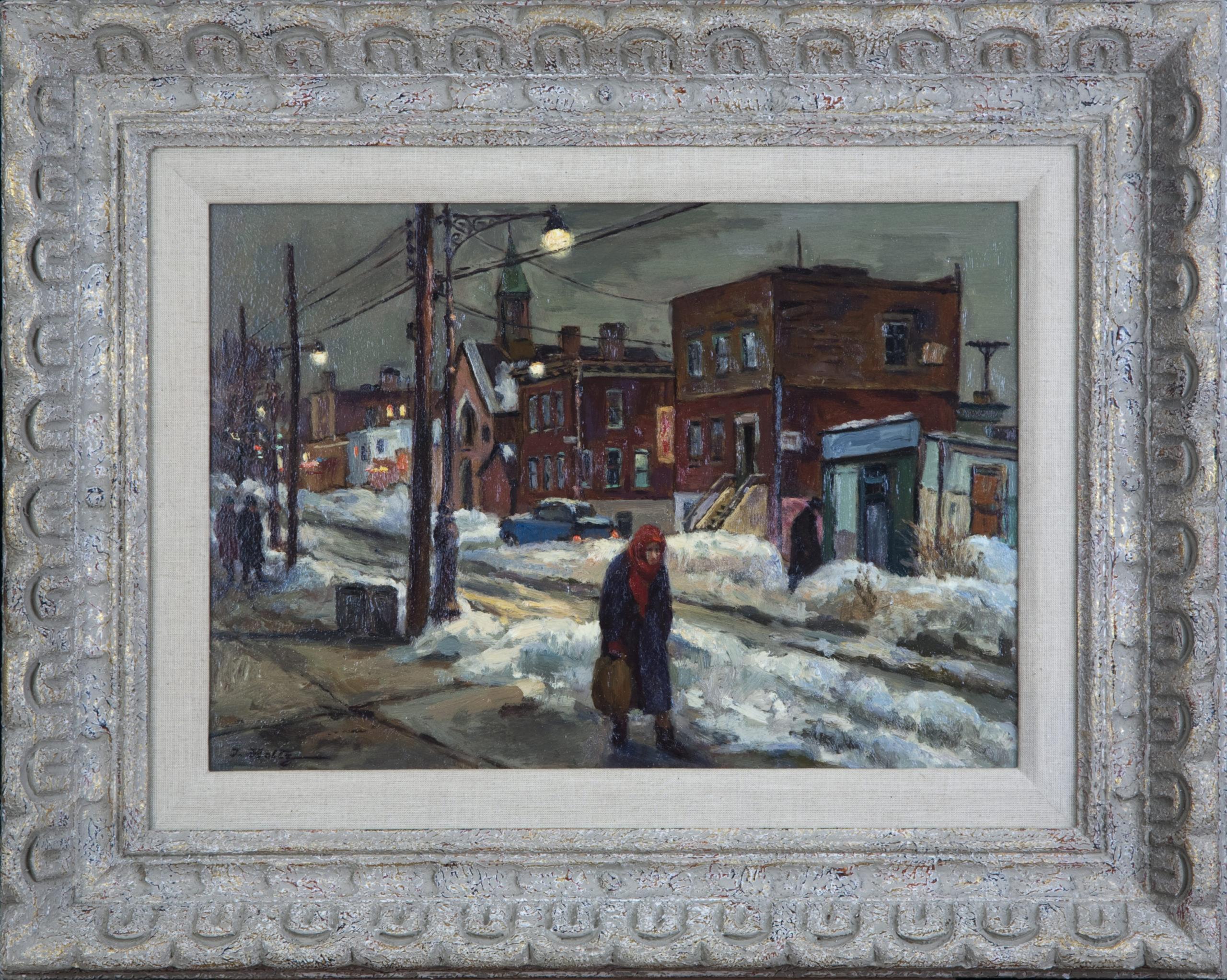 229 Snow Scene at Dusk NY 1964 - Oil on board - 18 x 13 - Frame: 23 x 18.25 x 2