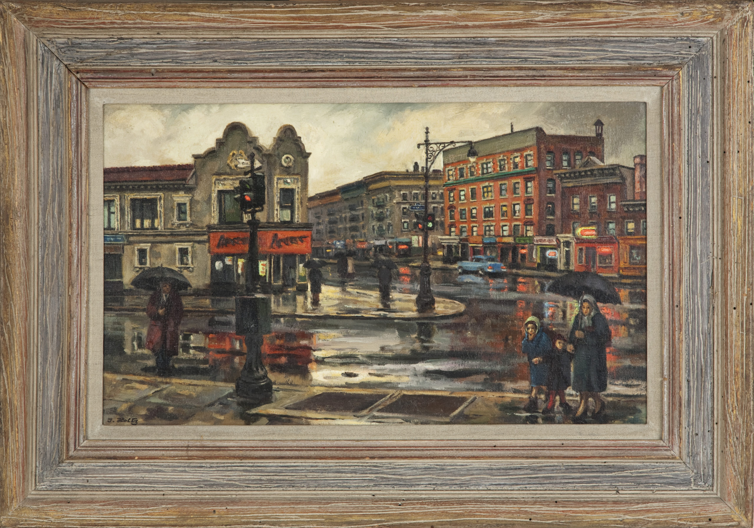 231 Rainy Street Scene 1965 - Oil on Canvas - 22.25 x 13 - Frame: 29.5 x 20.5 x 2