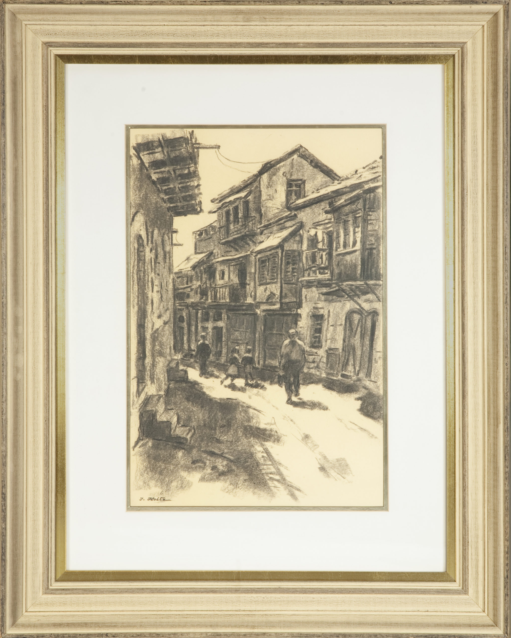 232 Jerusalem Alley 1959 - Charcoal - 12 x 18 - Frame: 23.5 x 29.25 x 2