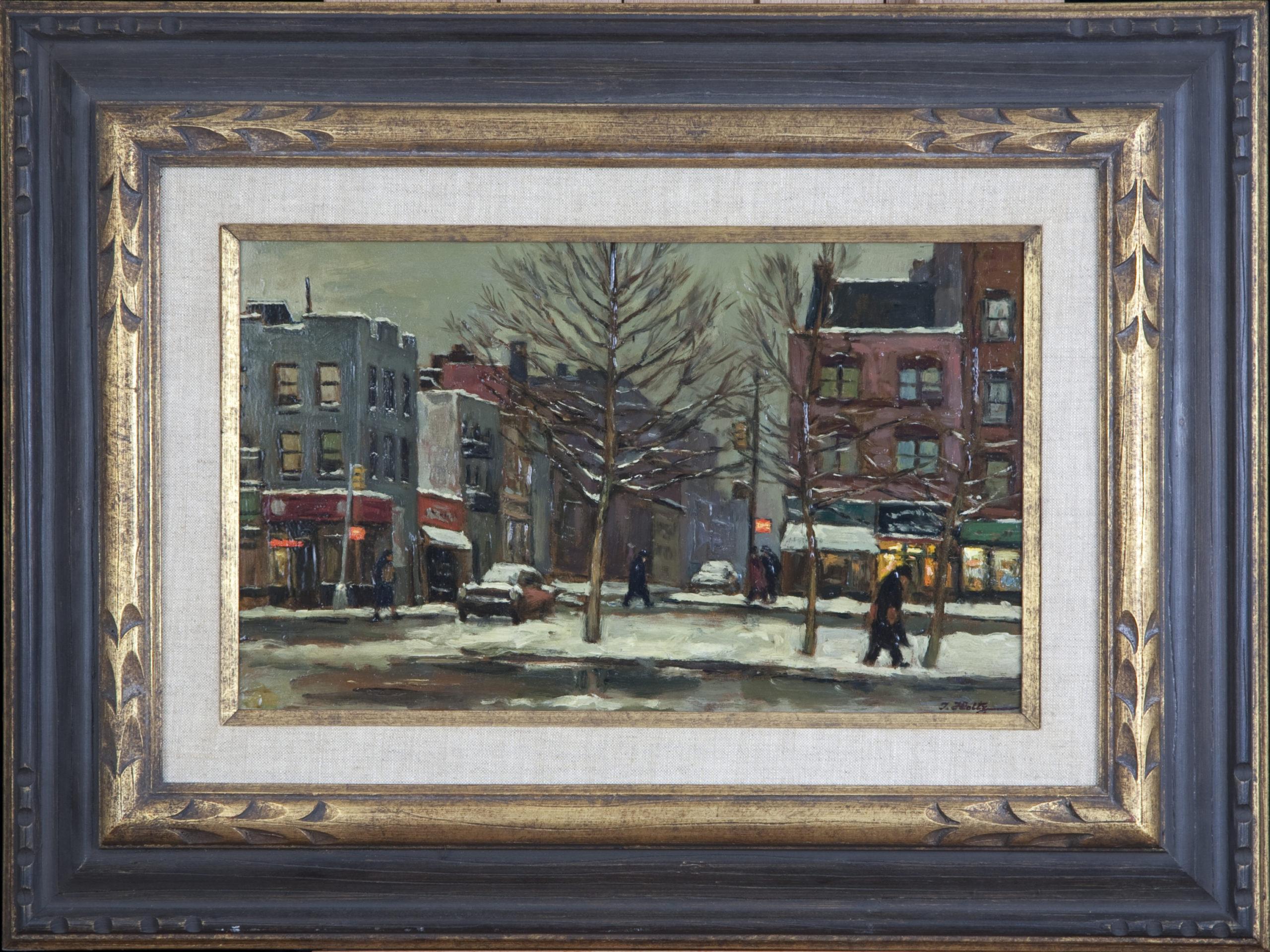 233 Winter NY 1965 - Oil on Masonite - 15 x 9 - Frame: 23.5 x 17.5 x 1.5