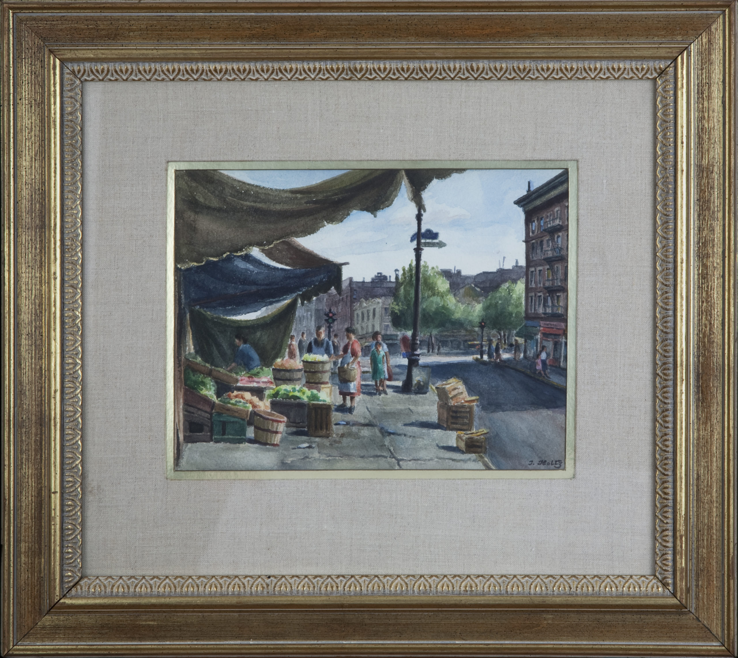 236 Street Scene NY 1960 - Watercolor - 11.75 x 8.75 - Frame: 21.25 x 19 x 1.25