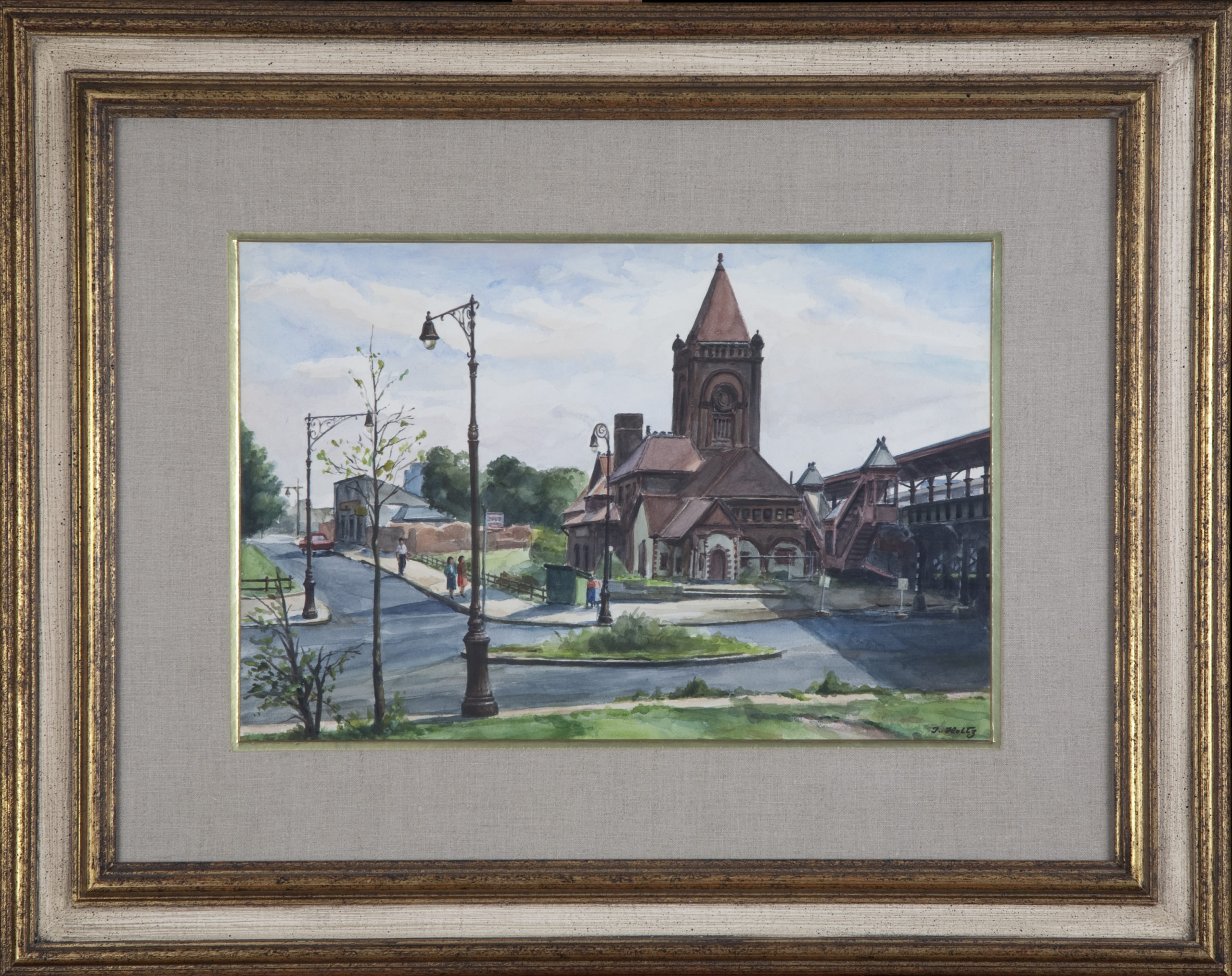 237 Old Railroad Station 1960 - Watercolor - 18 x 12 - Frame: 29 x 23 x 1.25