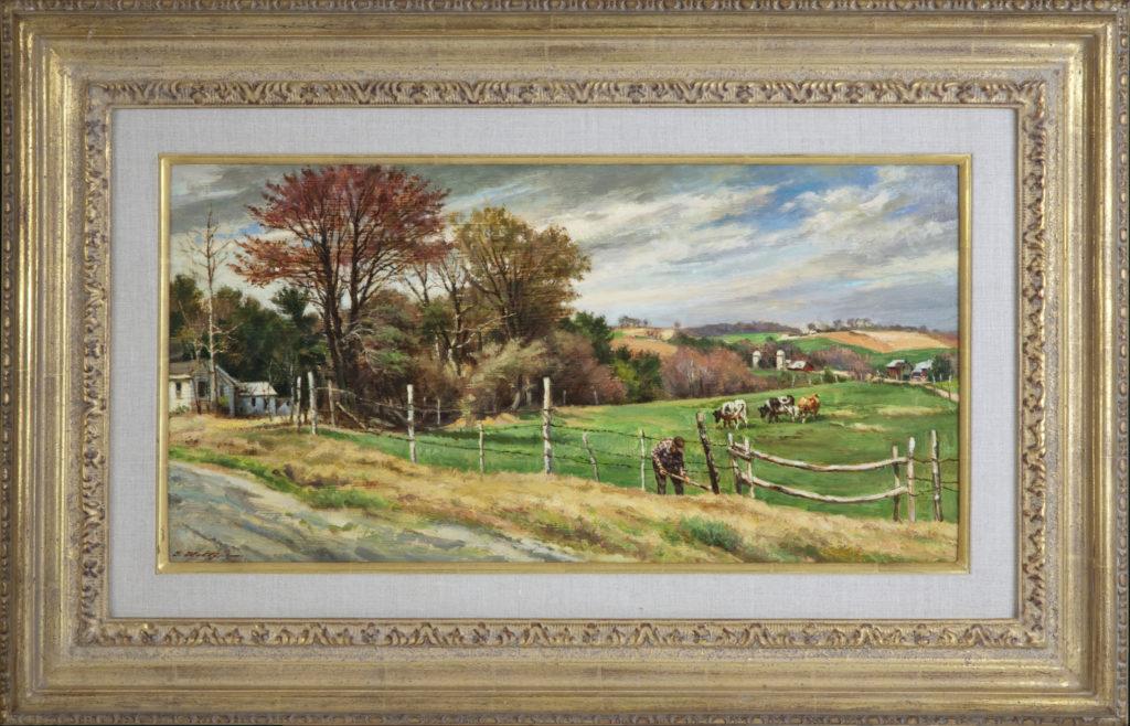 020 Catskill Farm 1982 - Oil on Masonite - 24 x 12 - Frame: 33.5 x 22 x 2.25