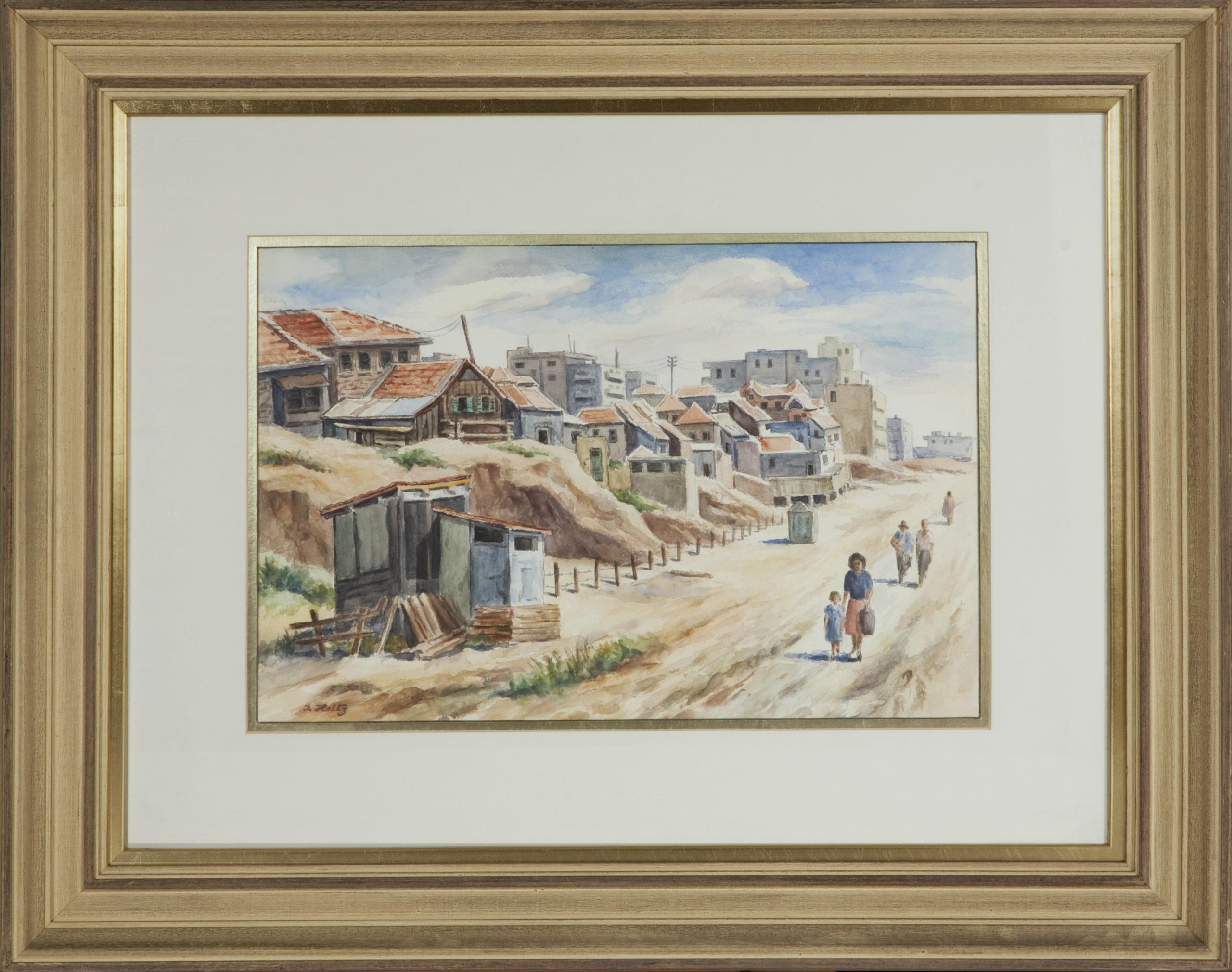 248 Tel-Aviv 1959 - Watercolor - 12 x 18 - Frame: 29.5 x 23.25 x 2.25