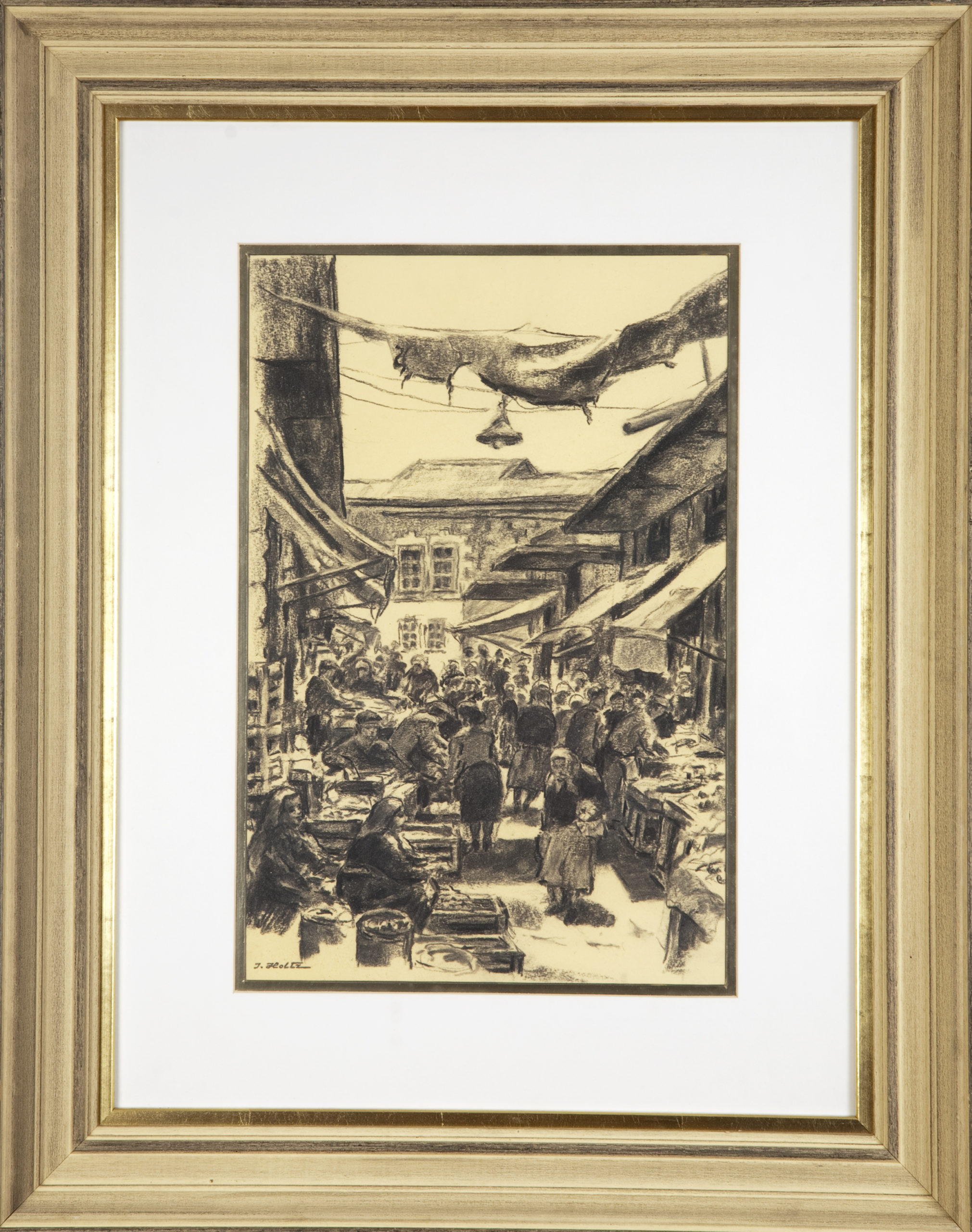 249 Market in Jerusalem 2 1960 - Charcoal - 12 x 18 - Frame: 23.25 x 29.5 x 2.25
