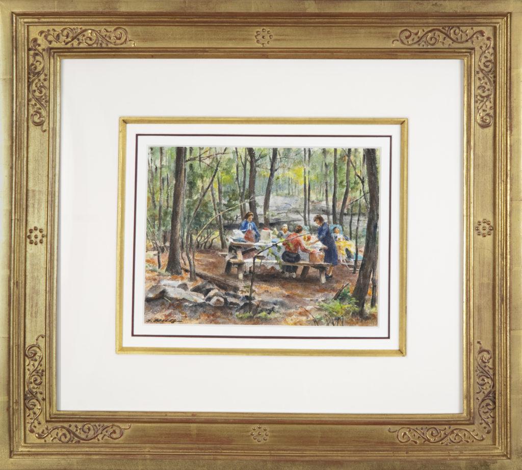 002 Picnic 1965 - Watercolor - 11.5 x 9 - Frame: 25.5 x 23 x 2
