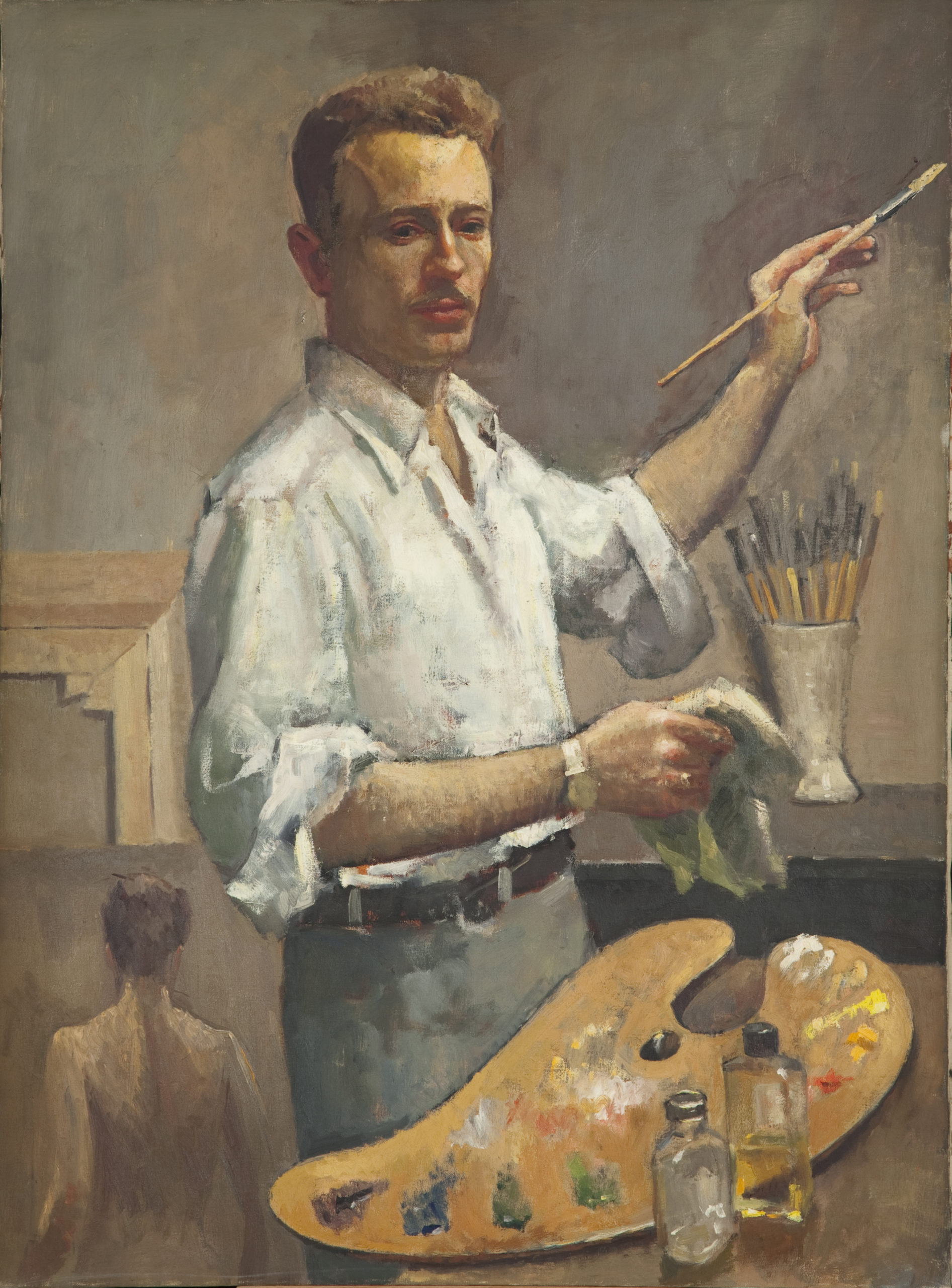 258 Itshak Holtz - Self Portrait 1951 - Oil on Canvas - 30 x 40.25 - No Frame