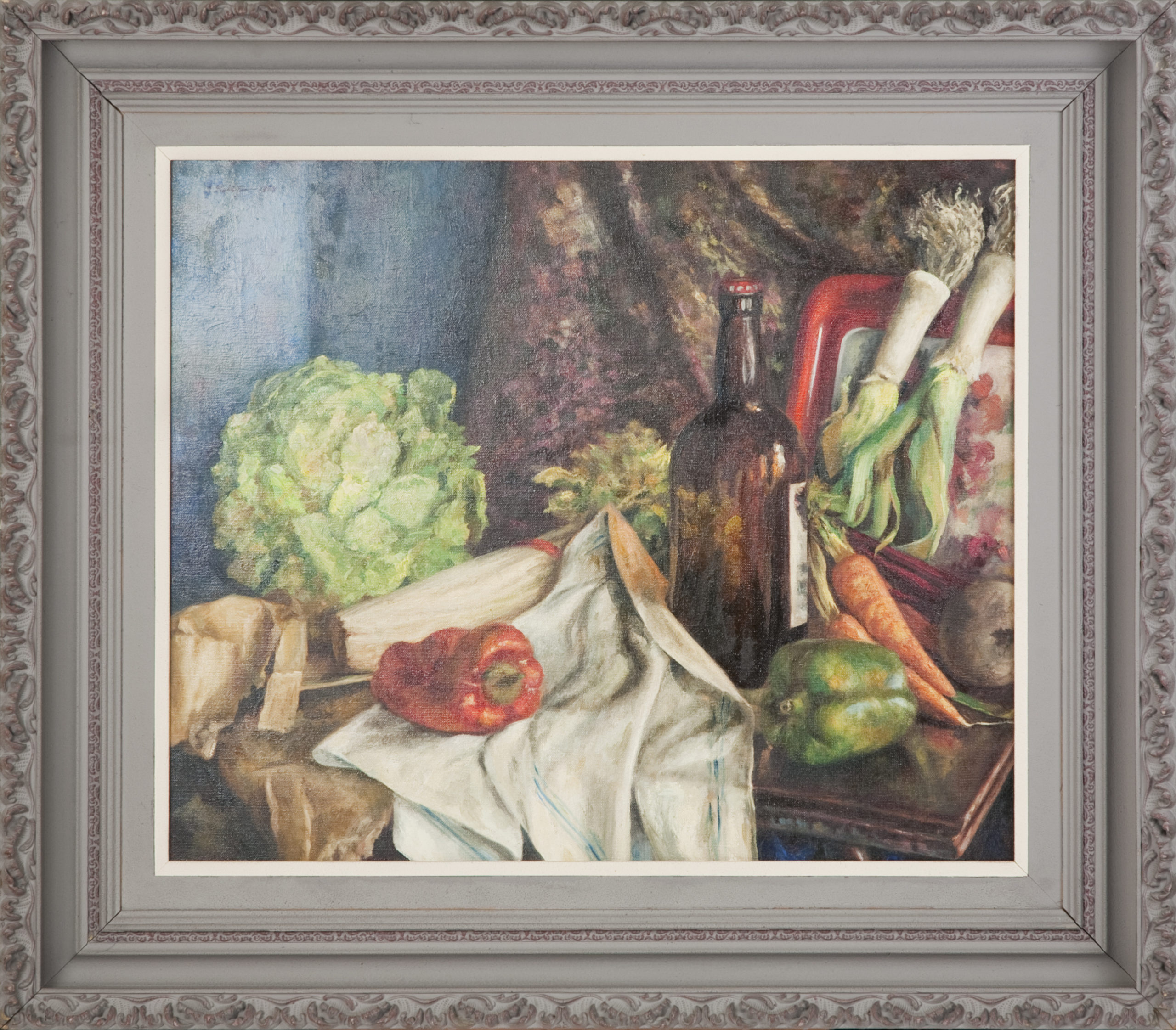 263 Still Life with Beer Bottle and Vegetables 1950 - Oil on Canvas - 25.5 x 22.75 - Frame: 32 x 28 x 3