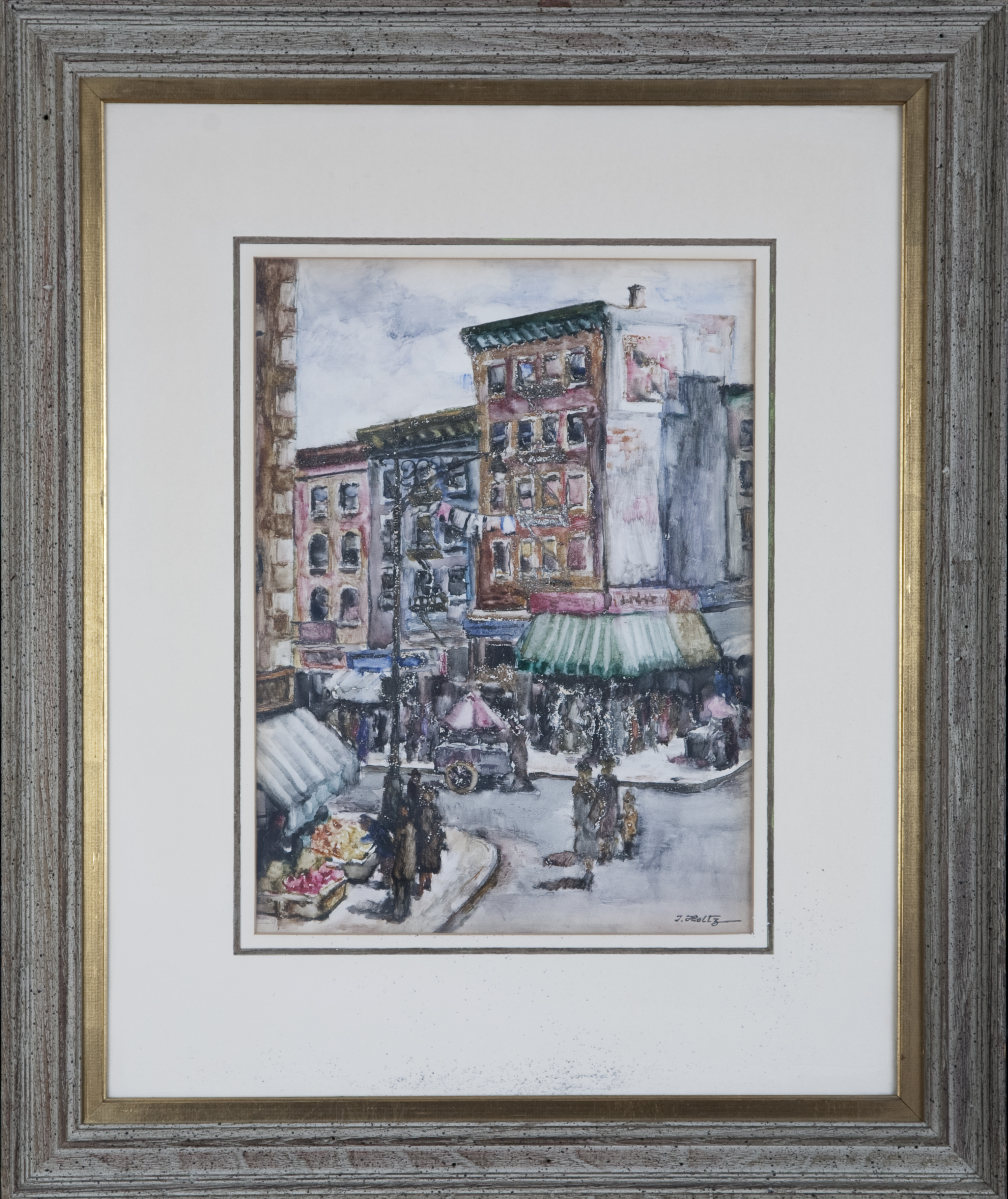 266 Lower East Side 1955 - Watercolor - 11.5 x 15.5 - Frame: 22.825 x 27.125 x 1.25