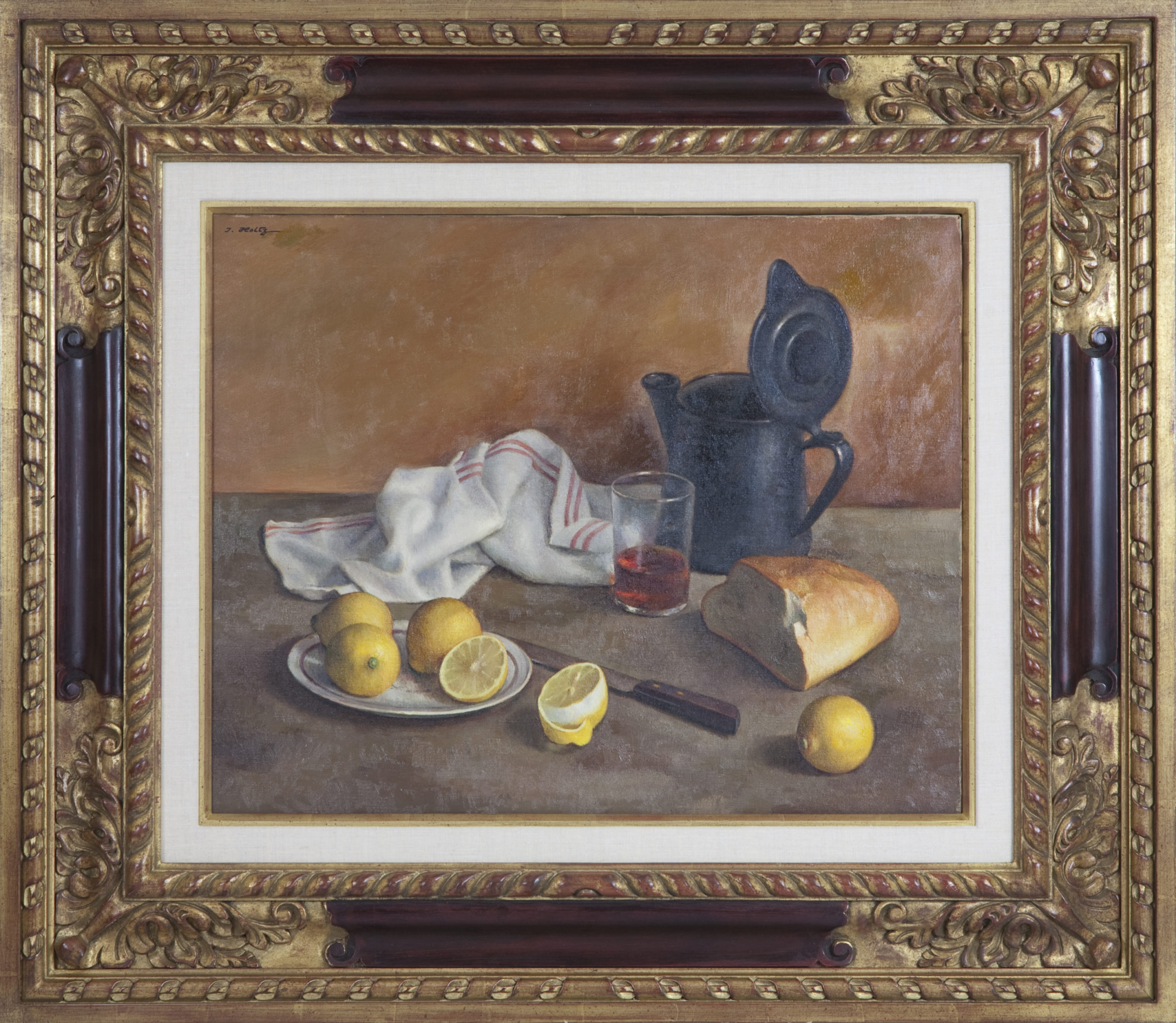 281 Still Life with Lemons Tea and Bread - Oil on Canvas - 25 x 20 - Frame: 38.5 x 33.5 x 2